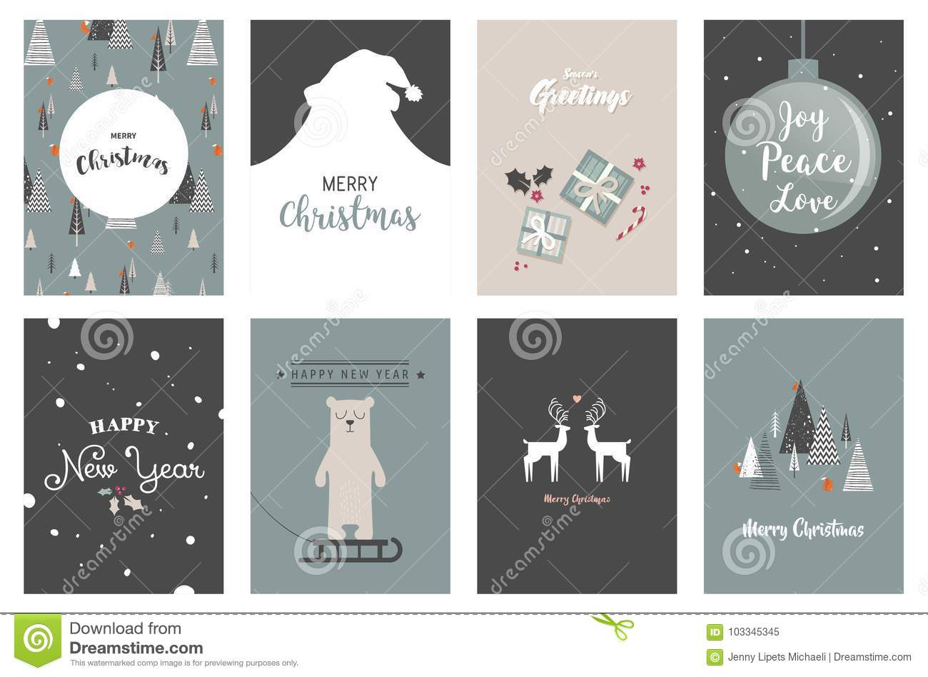 merry christmas cards illustrations and icons lettering design collection no 5 - No Photo Christmas Cards