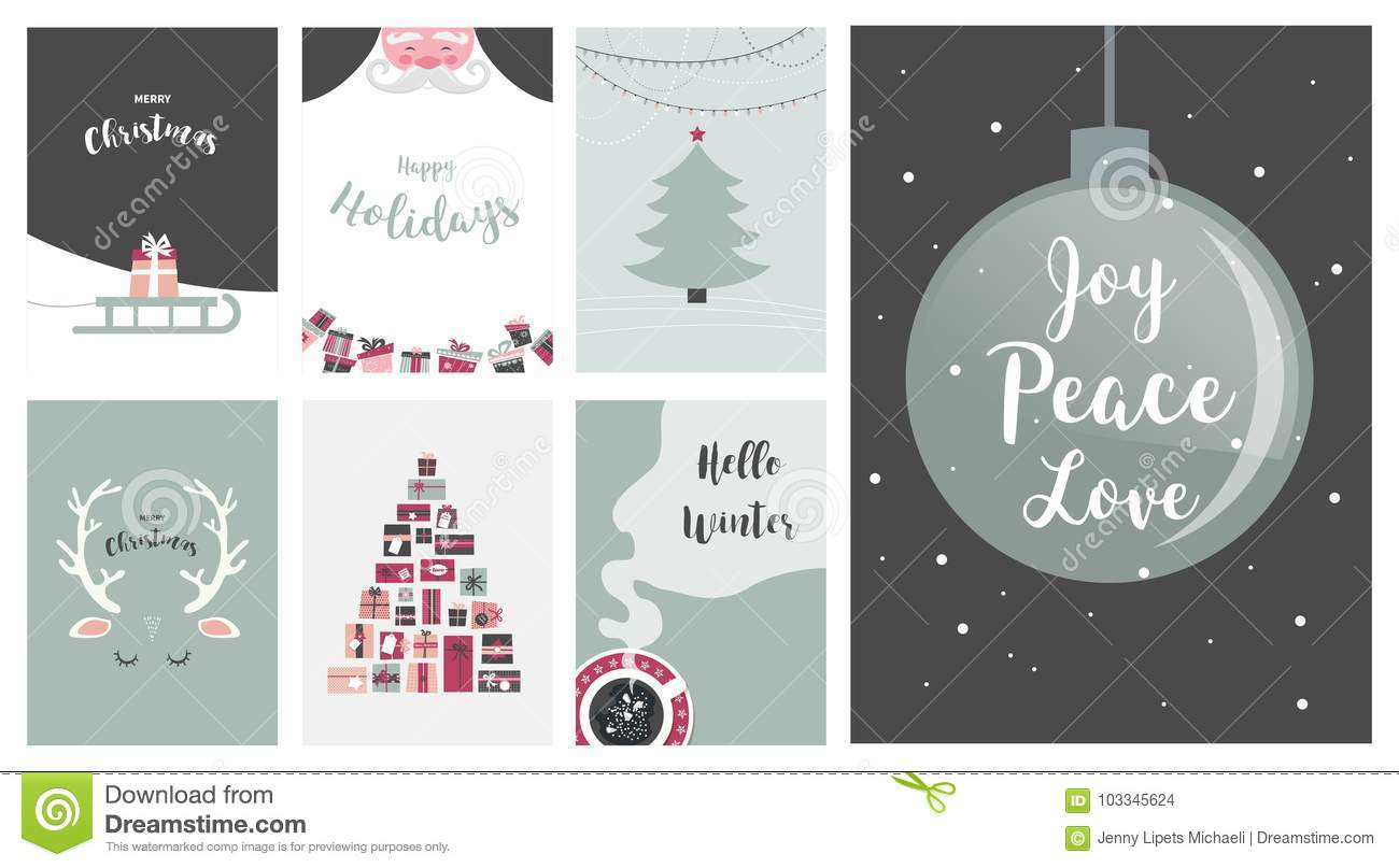 Merry Christmas Cards, Illustrations And Icons, Lettering Design ...