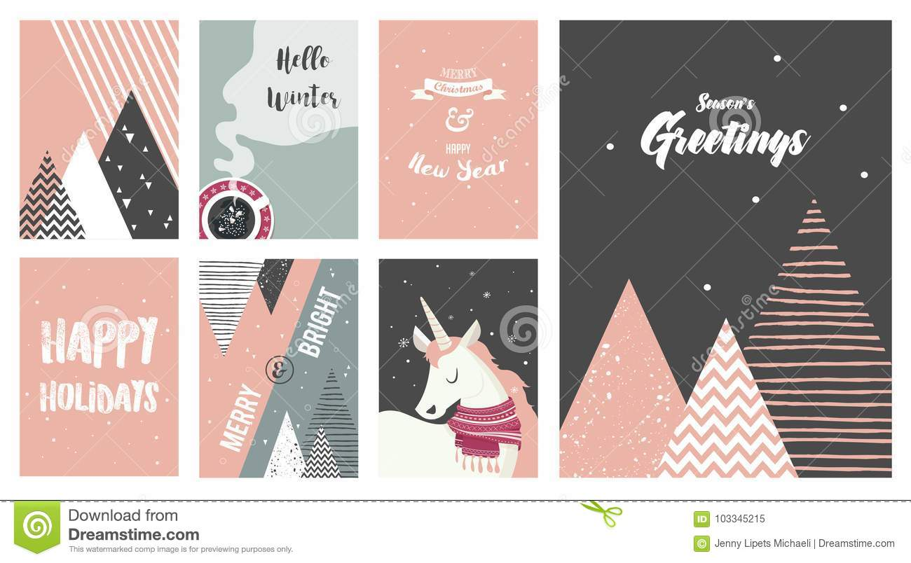 download merry christmas cards illustrations and icons lettering design collection no 6 stock - No Photo Christmas Cards