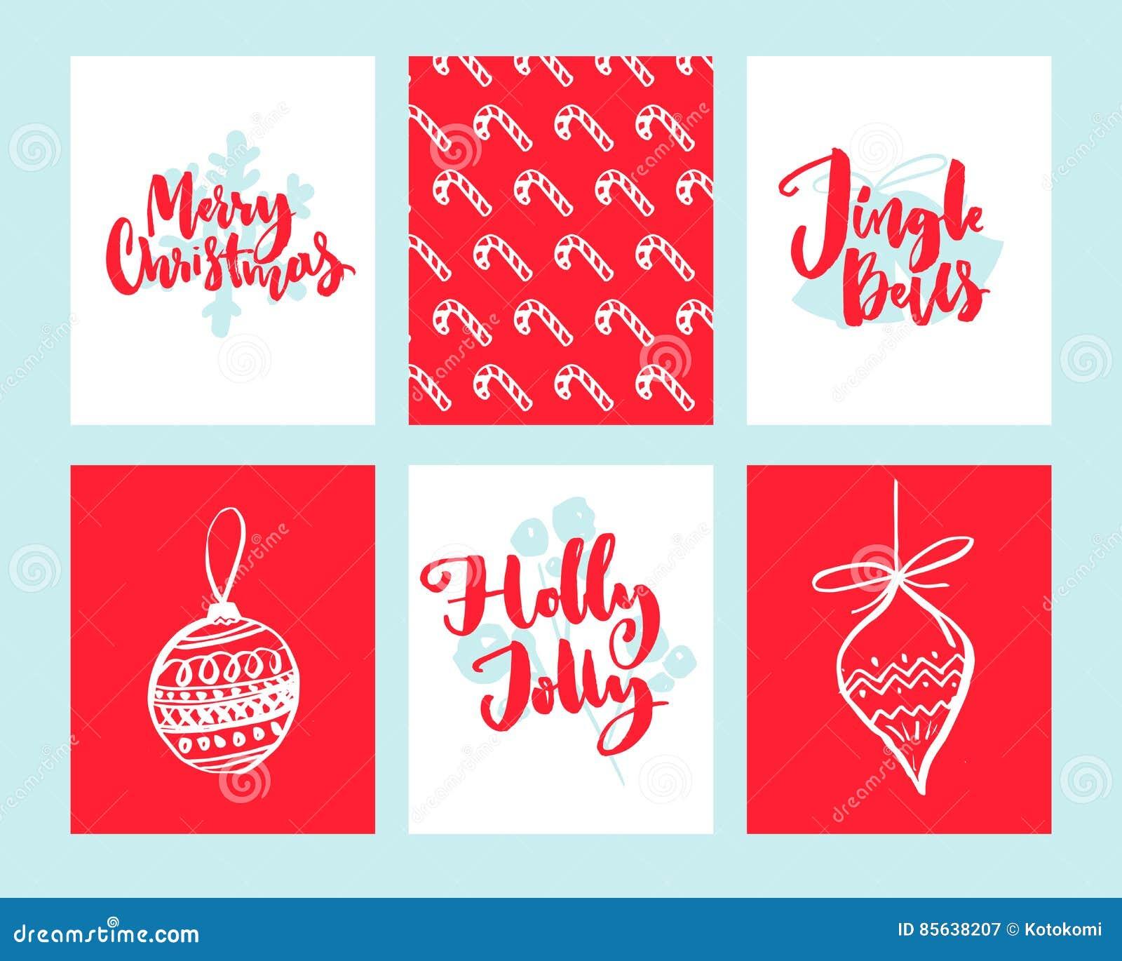 Merry Christmas Cards Set Of Winter Holidays Design Templates