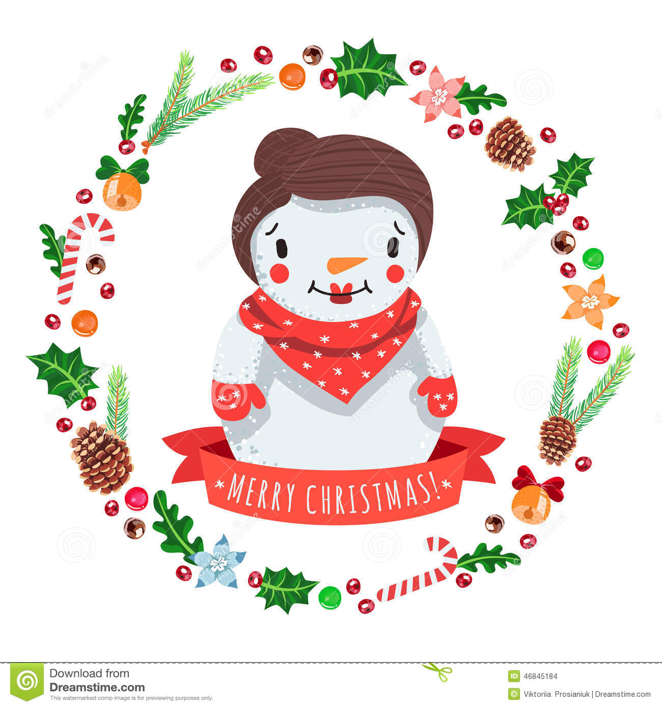 Merry christmas cartoon snow woman in with