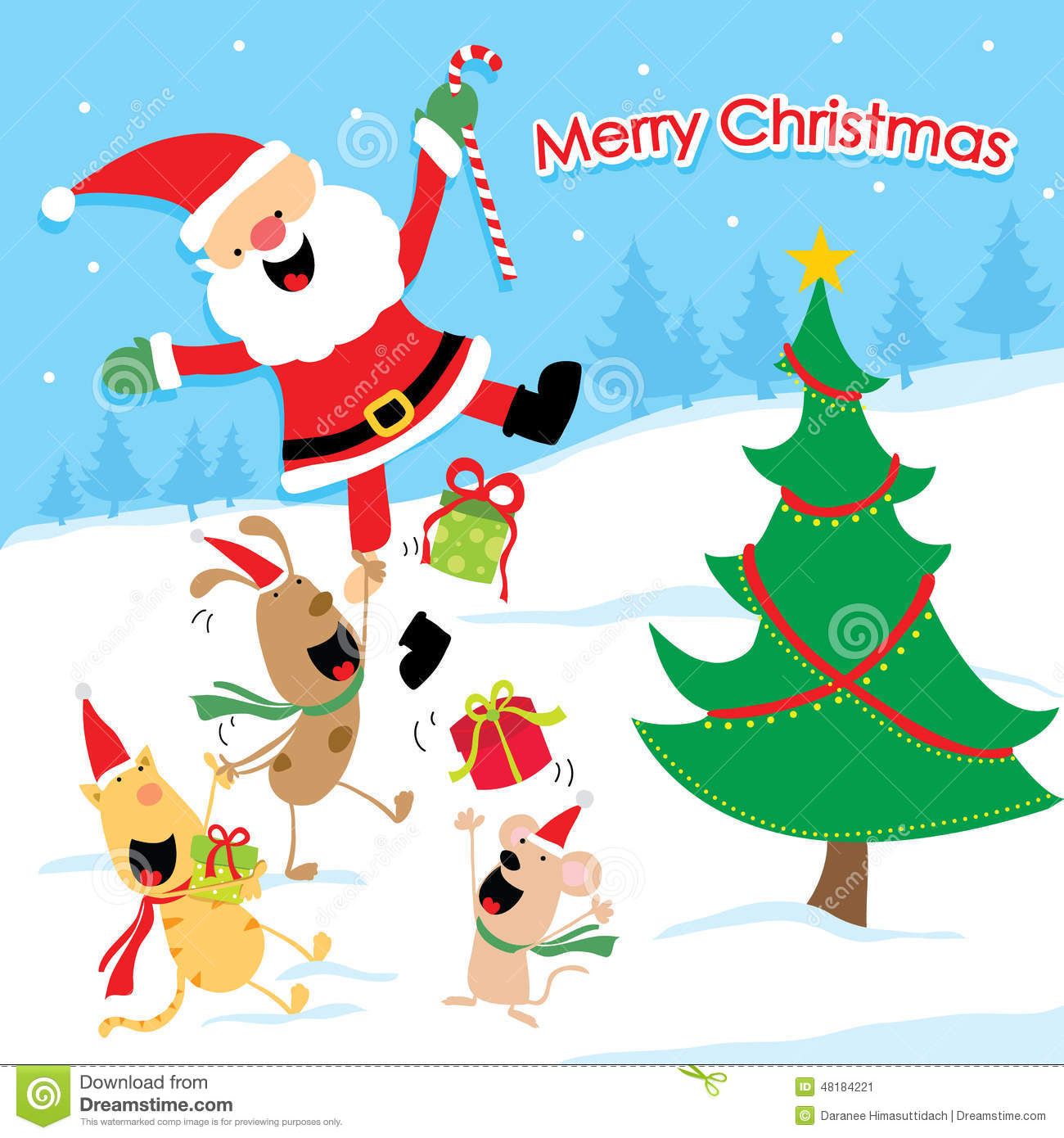 merry christmas cartoon vector illustration 48184221 megapixl - Christmas Cartoon Pictures