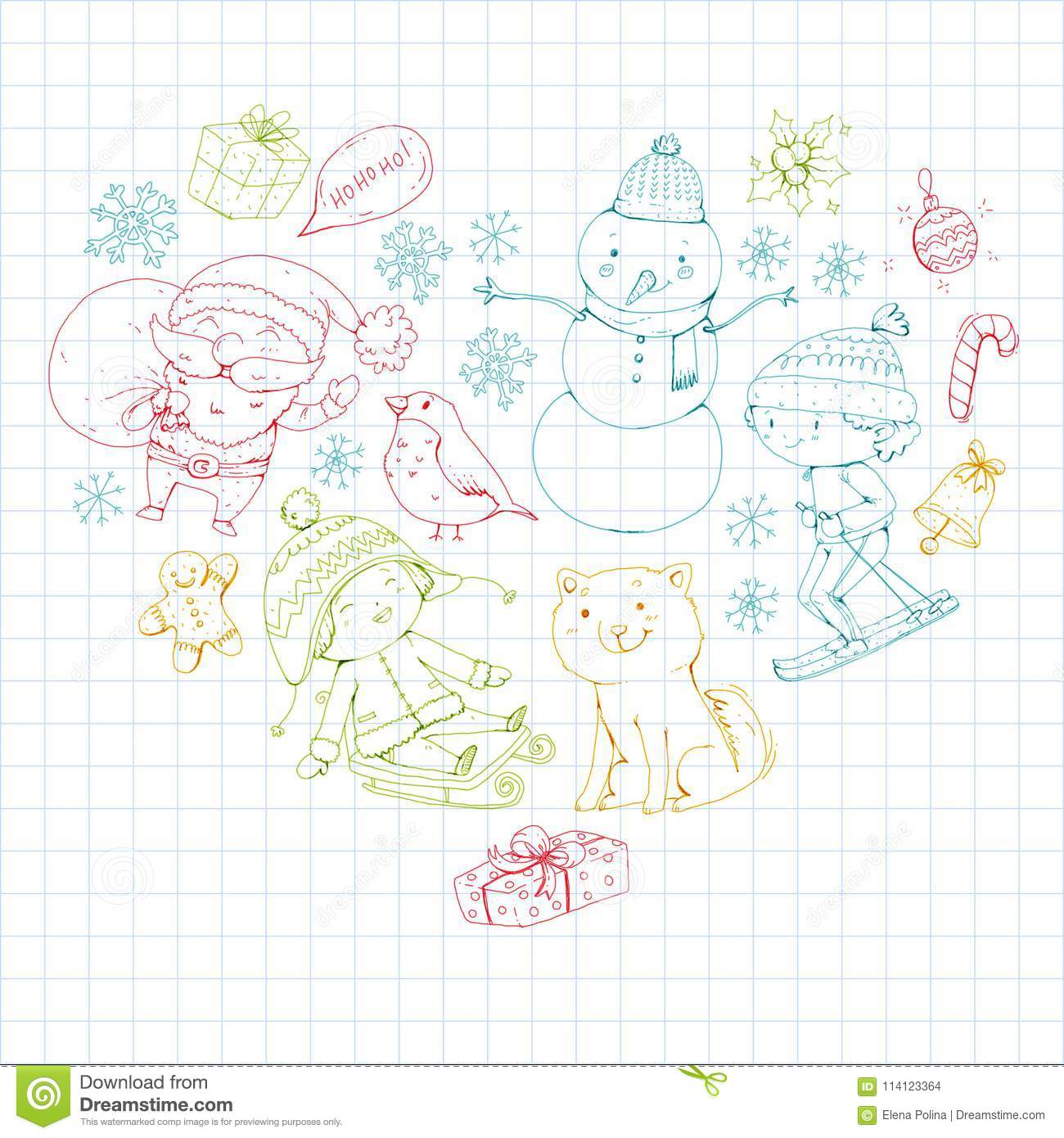 Christmas Celebration Images For Drawing.Merry Christmas Celebration With Children Kids Drawing