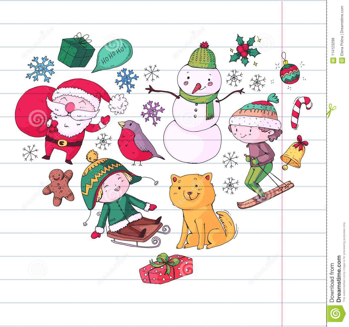 Merry Christmas Celebration With Children Kids Drawing Illustration