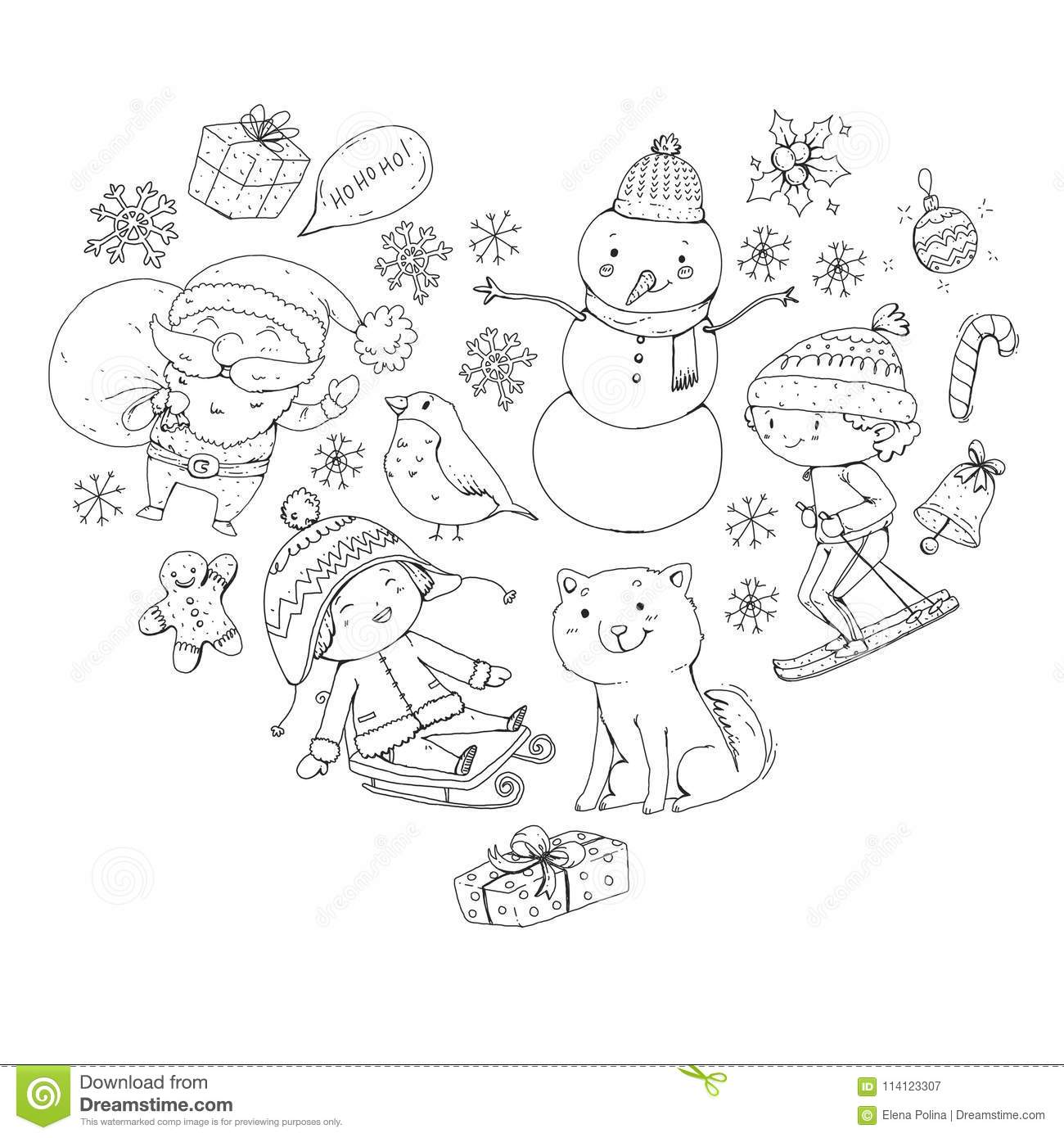Merry Christmas Celebration With Children Kids Drawing Illustration With Ski Gifts Santa Claus Snowman Boys And Stock Vector Illustration Of Board Drawing 114123307