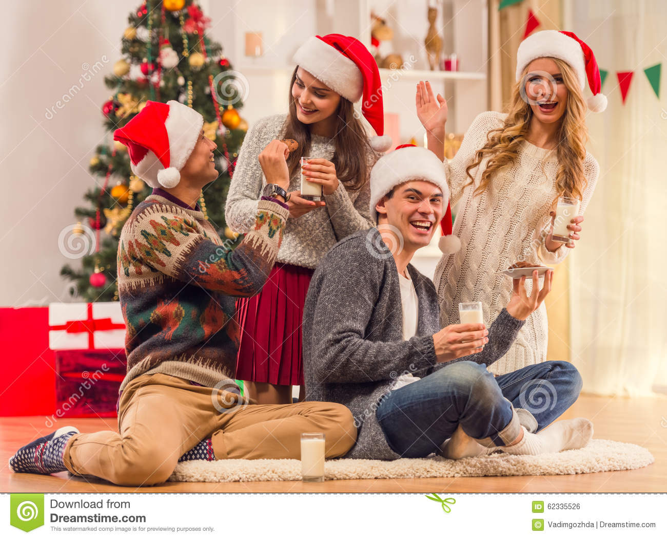 download merry christmas celebration stock photo image of credit party 62335526 - Celebrating Christmas