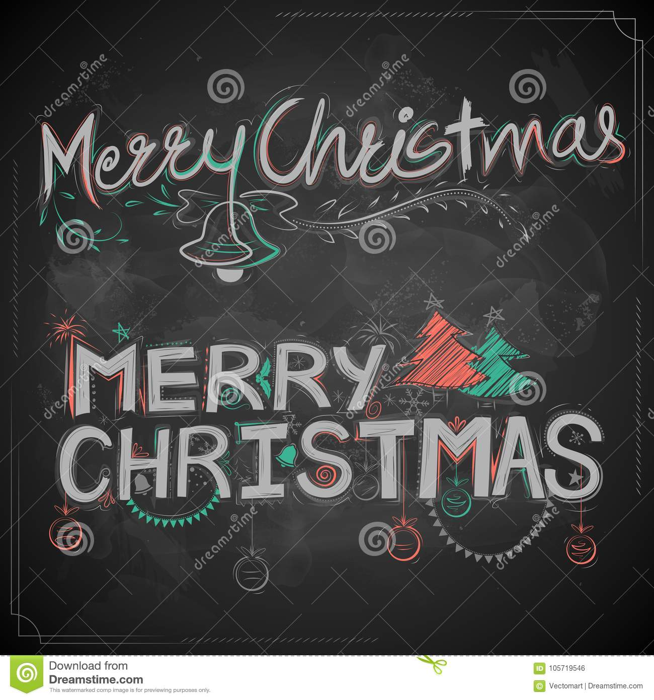 Christmas Board Design.Merry Christmas Chalk Lettering Design Set Typography Style