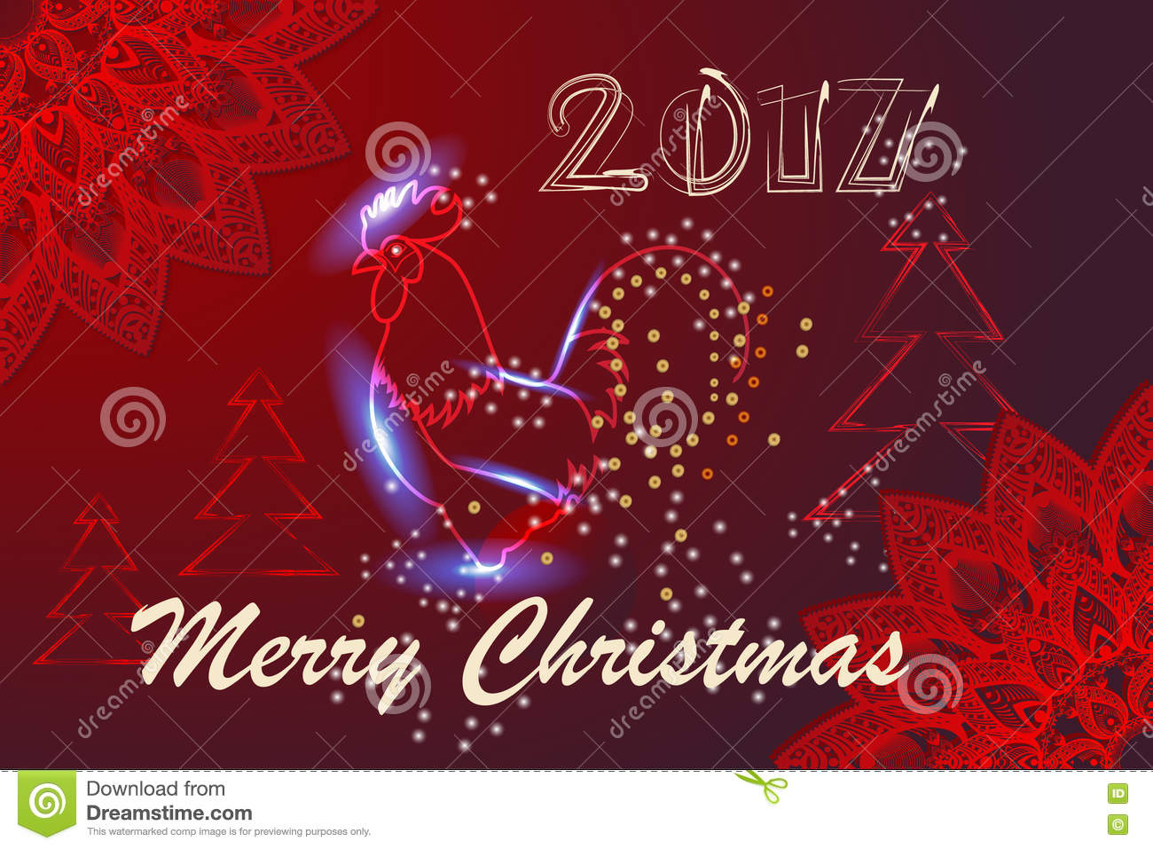 merry christmas chinese calendar symbol of 2017 year