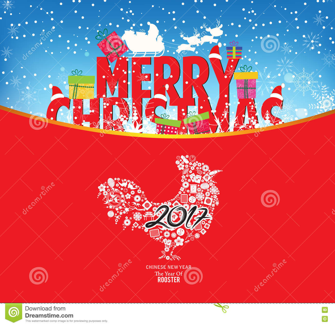 download merry christmas and chinese new year 2017 stock vector illustration of flyer abstract