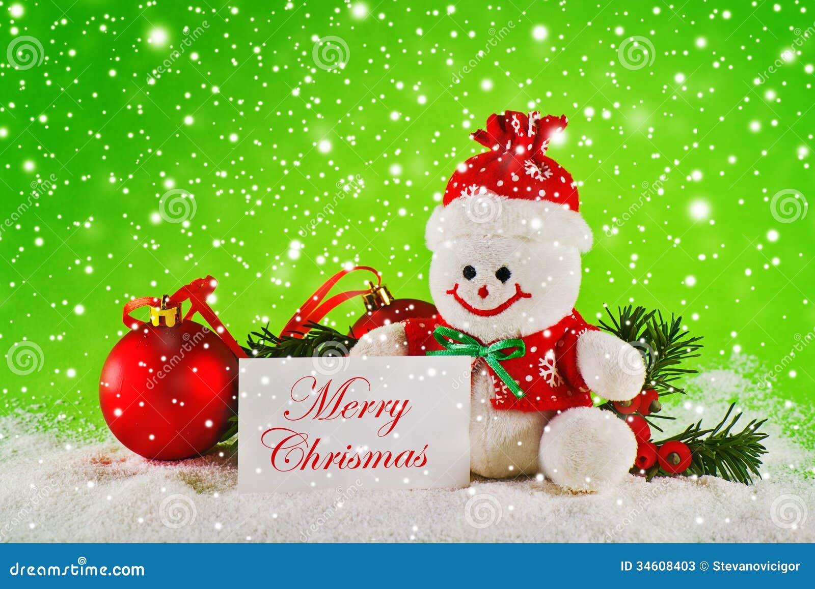 Merry Christmas. Christmas Balls And Wool Snowman Stock Image ...