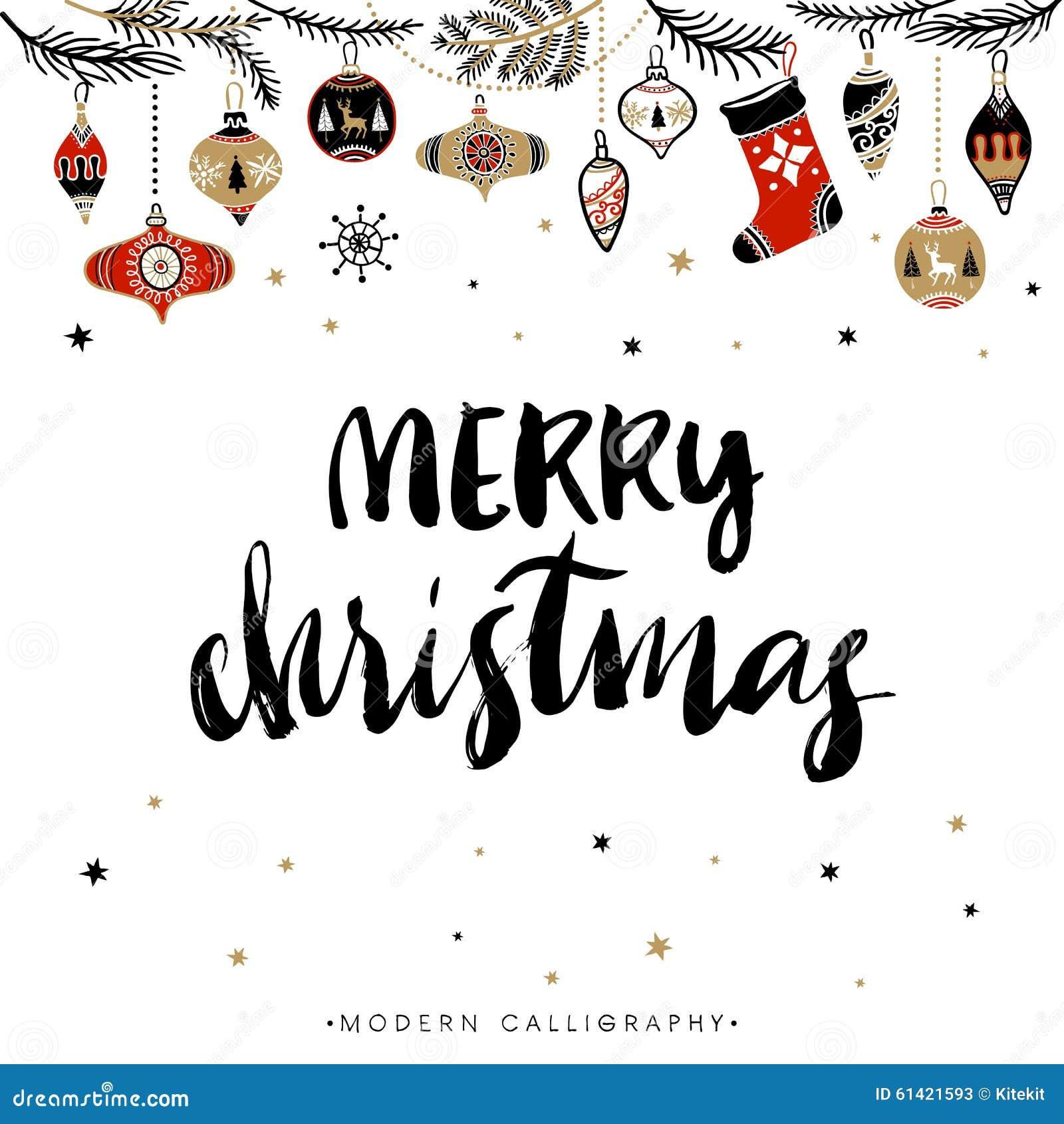 Merry christmas calligraphy stock vector