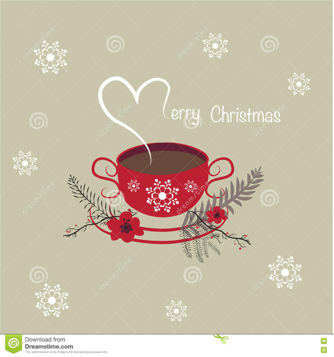 Merry Christmas Coffee Cup Background Stock Illustration ...