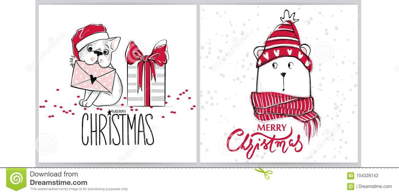 Merry Christmas 2018 Collection With Cute Greeting Cards. Funny Bear ...