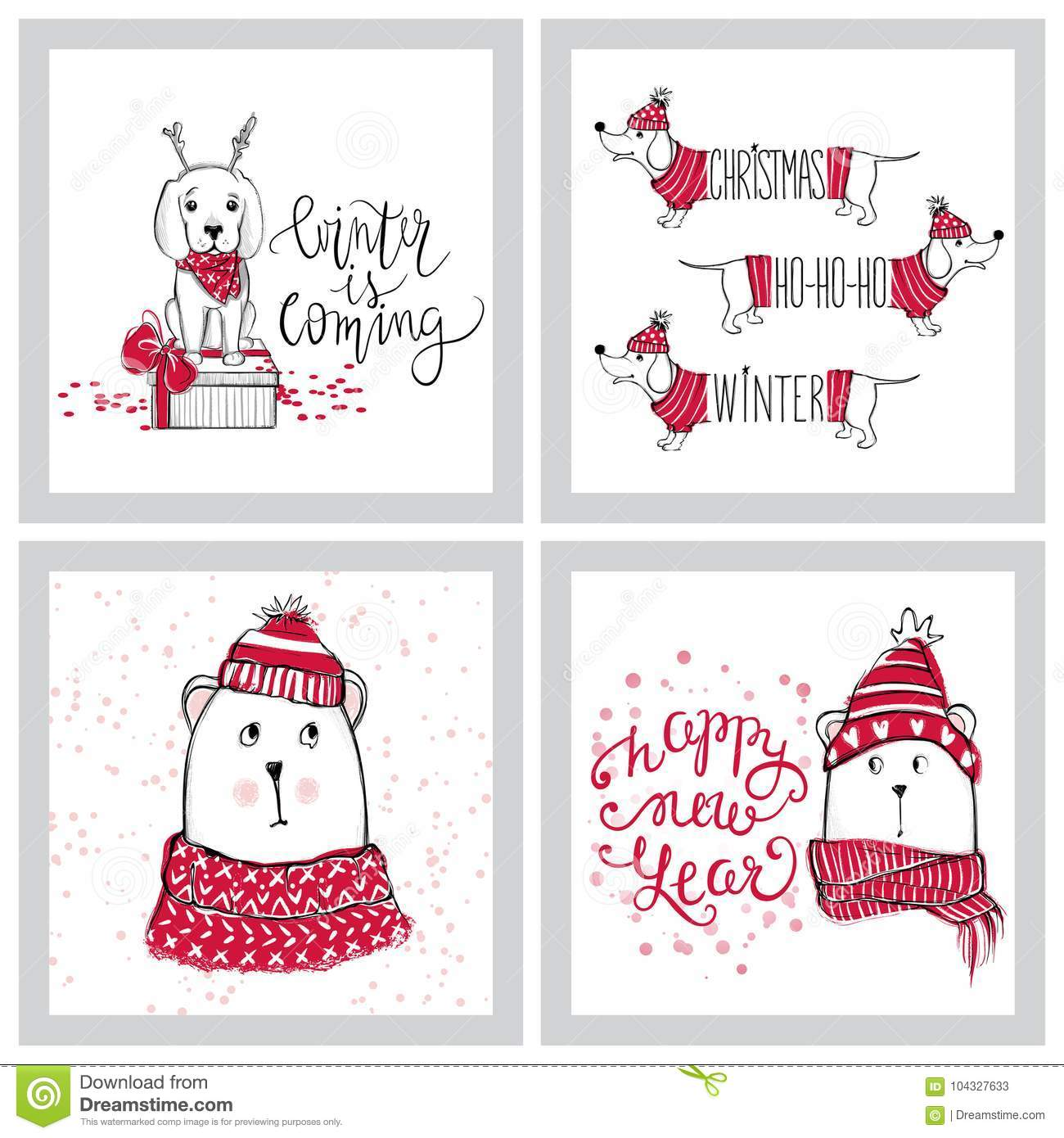 Merry Christmas 2018 Collection With Cute Greeting Cards. Funny ...