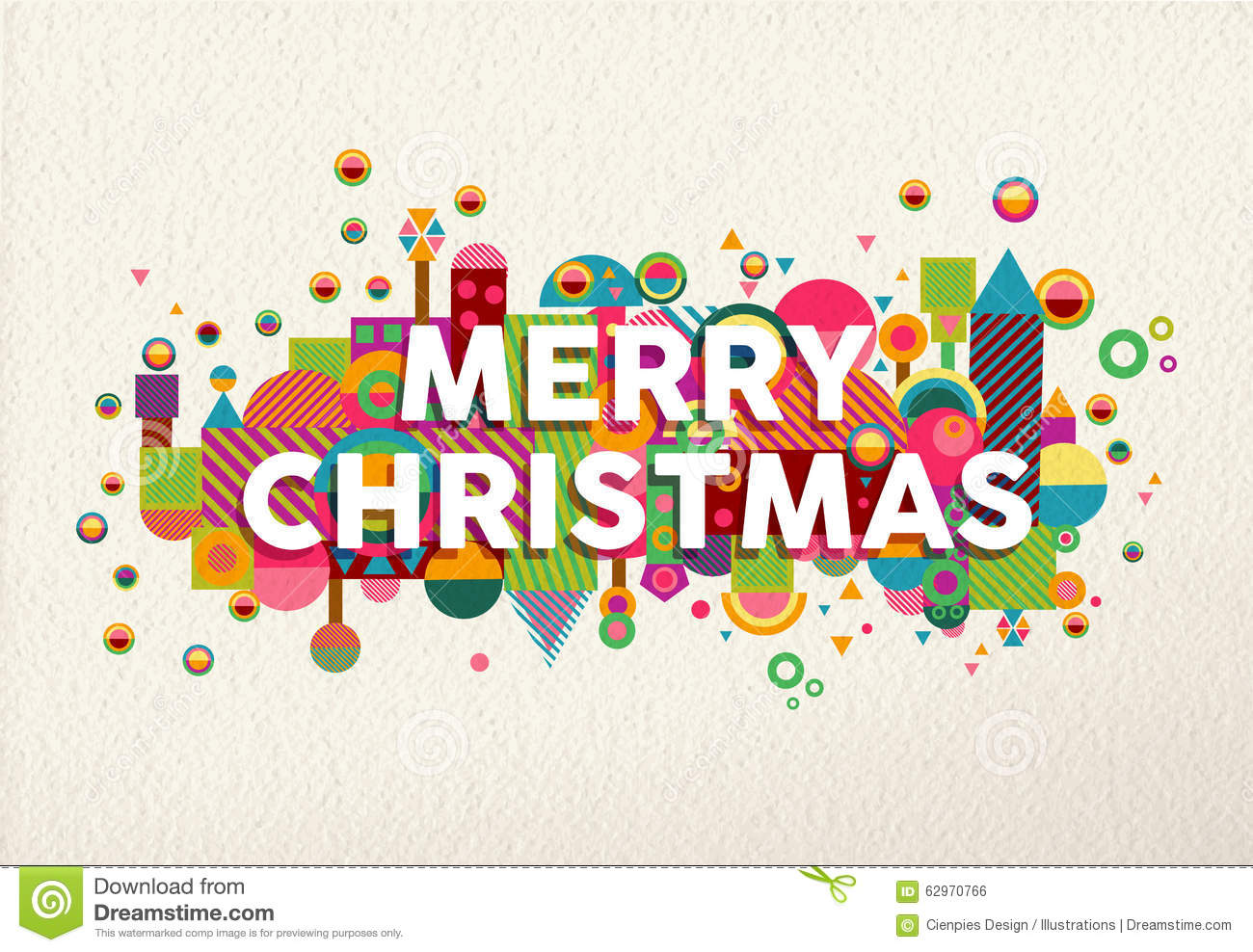 Merry Christmas Colorful Fun Geometry Environment Stock Vector ...