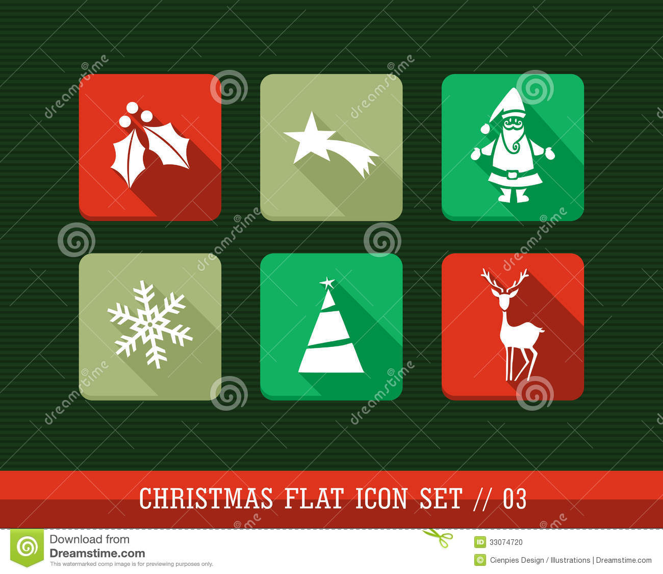 Merry Christmas Colorful Web Apps Flat Icons Set. Stock Vector ...