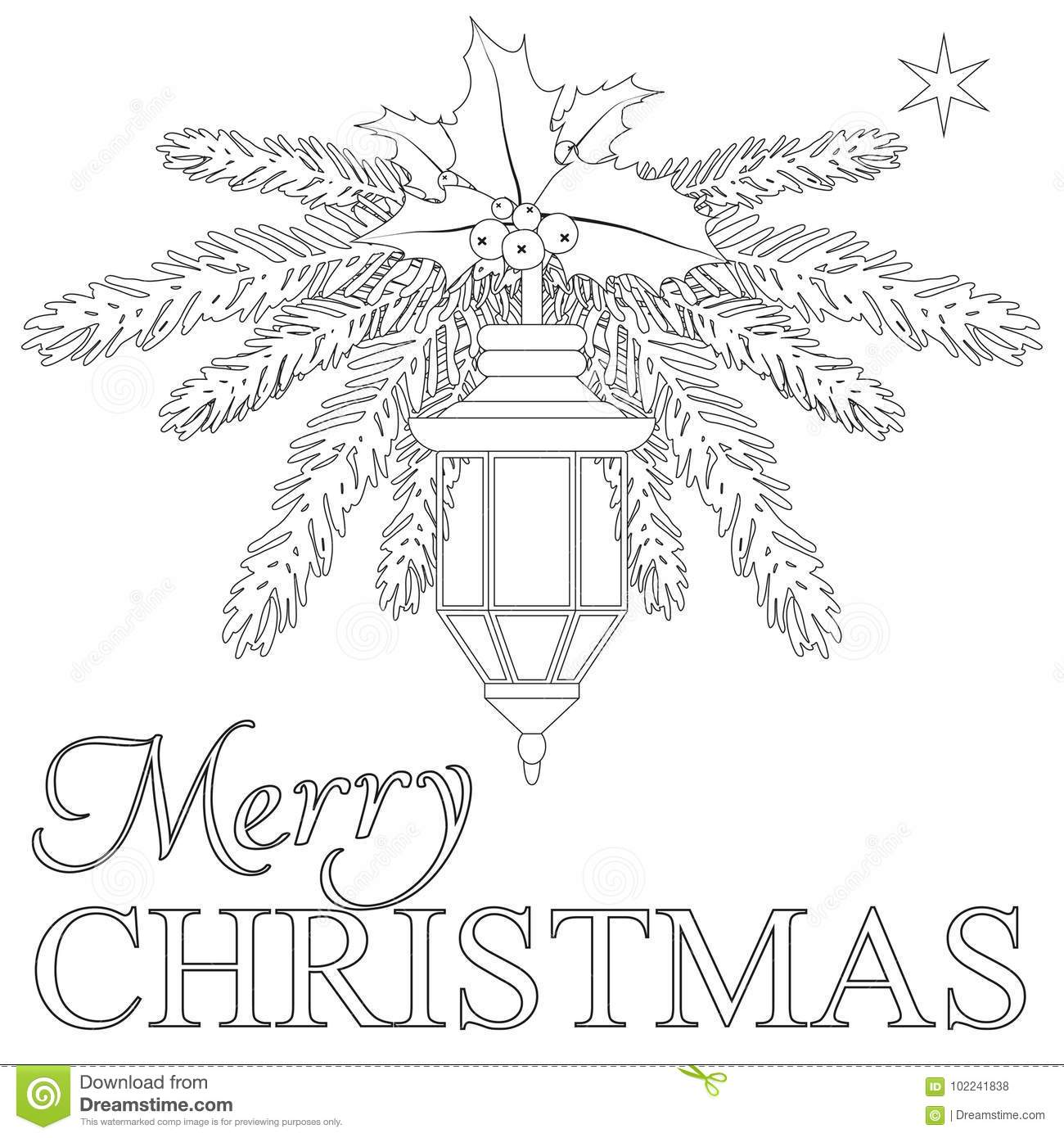 Merry Christmas Coloring Book Page Stock Vector Illustration Of