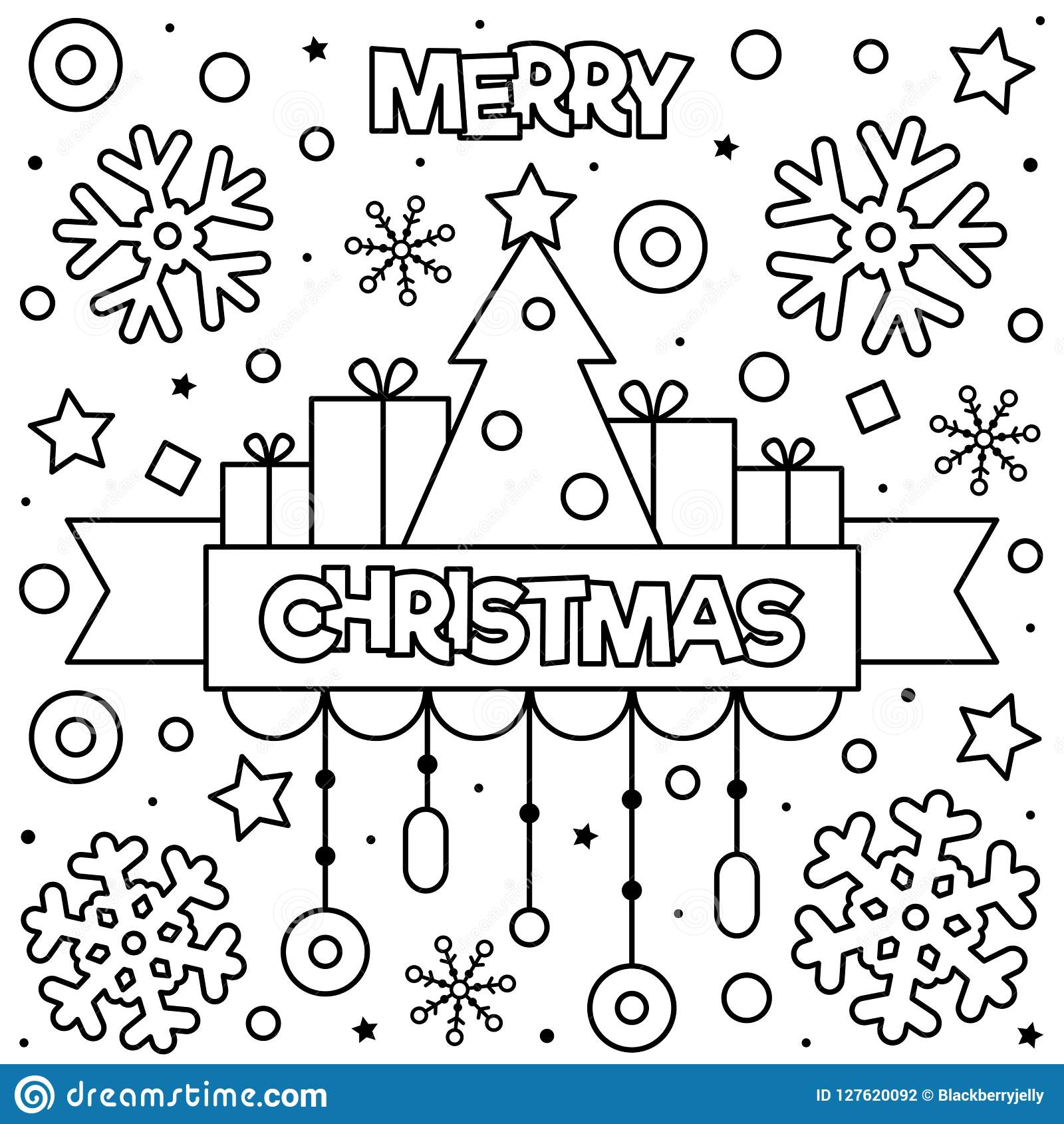 - Merry Christmas. Coloring Page. Black And White Vector