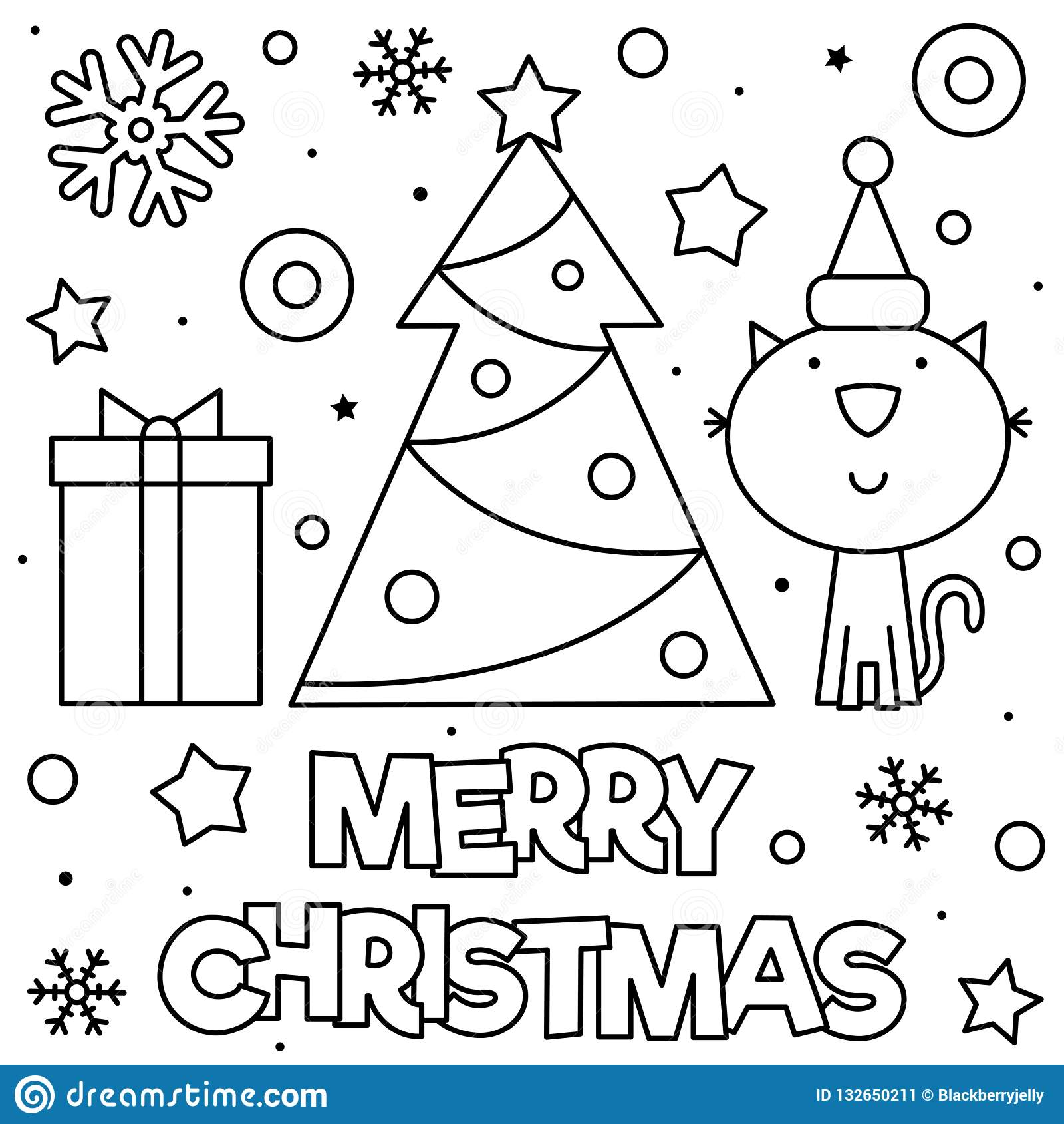 Merry Christmas Coloring Page Black And White Vector Illustration Stock Vector Illustration Of Antistress Colorless 132650211
