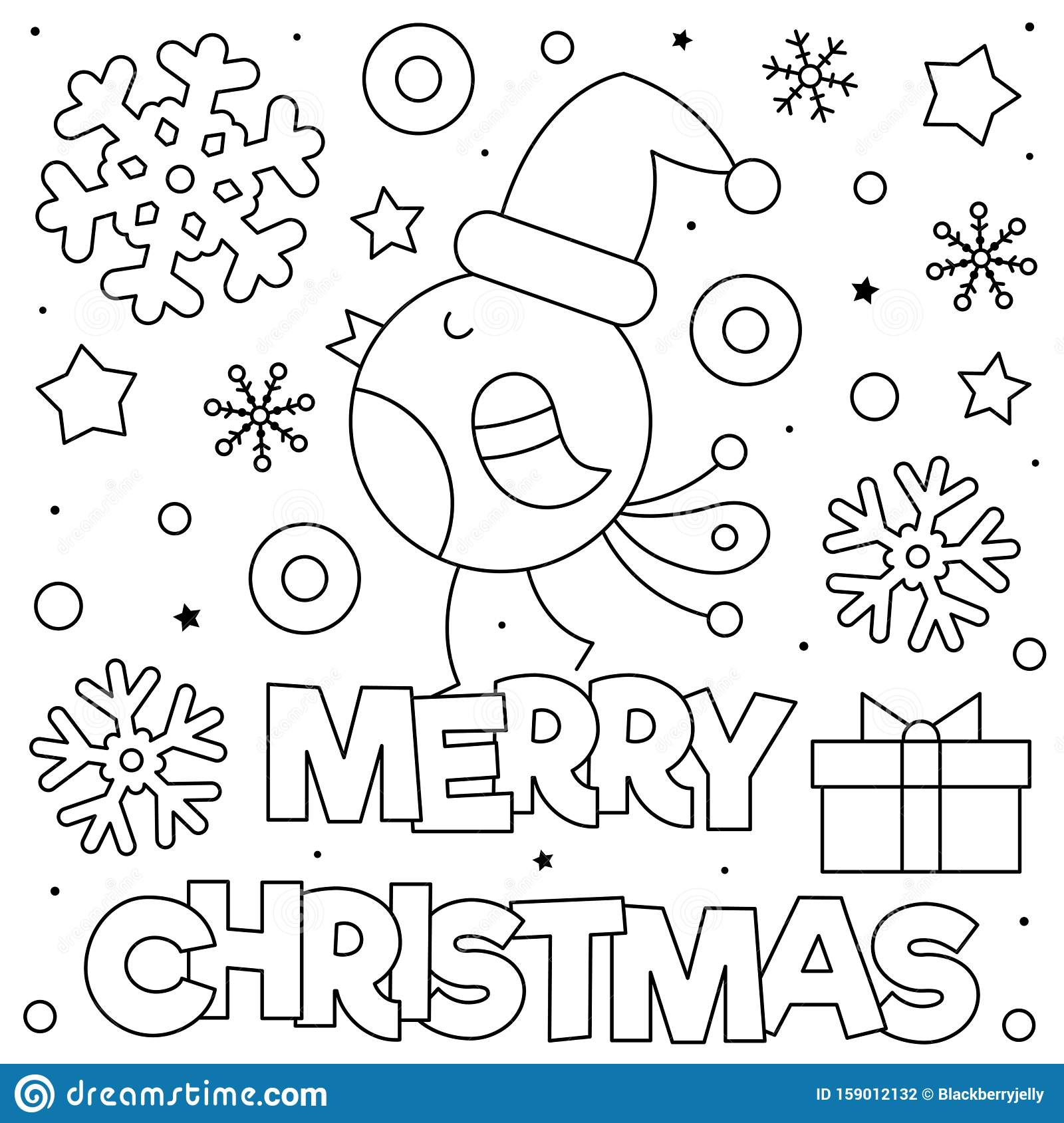 Merry Christmas Coloring Page Black And White Vector Illustration Stock Vector Illustration Of Merry Black 159012132