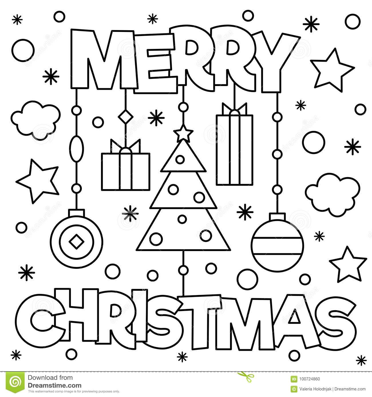 - Merry Christmas. Coloring Page. Vector Illustration. Stock Vector