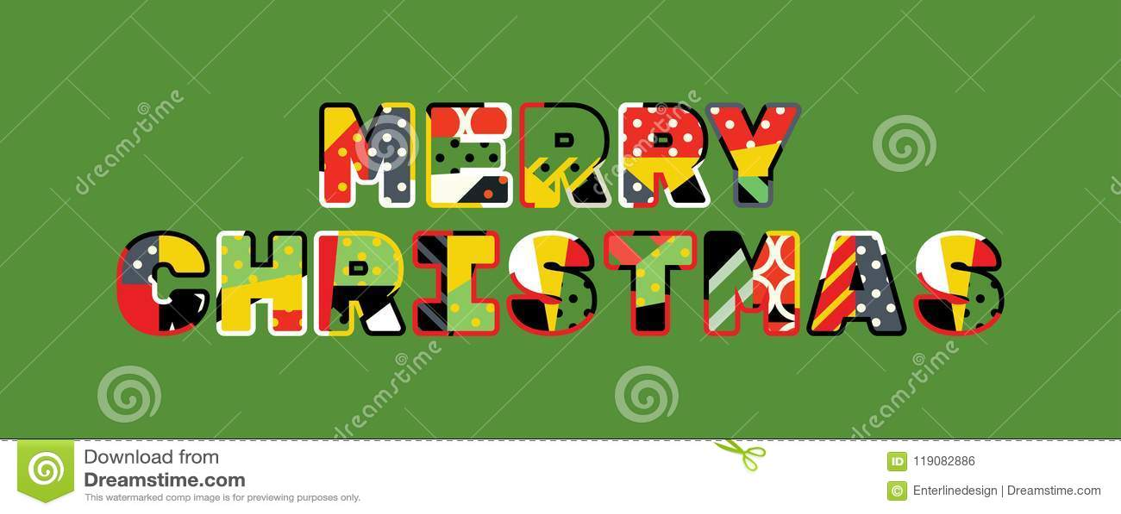Merry Christmas Concept Word Art Illustration Stock Vector