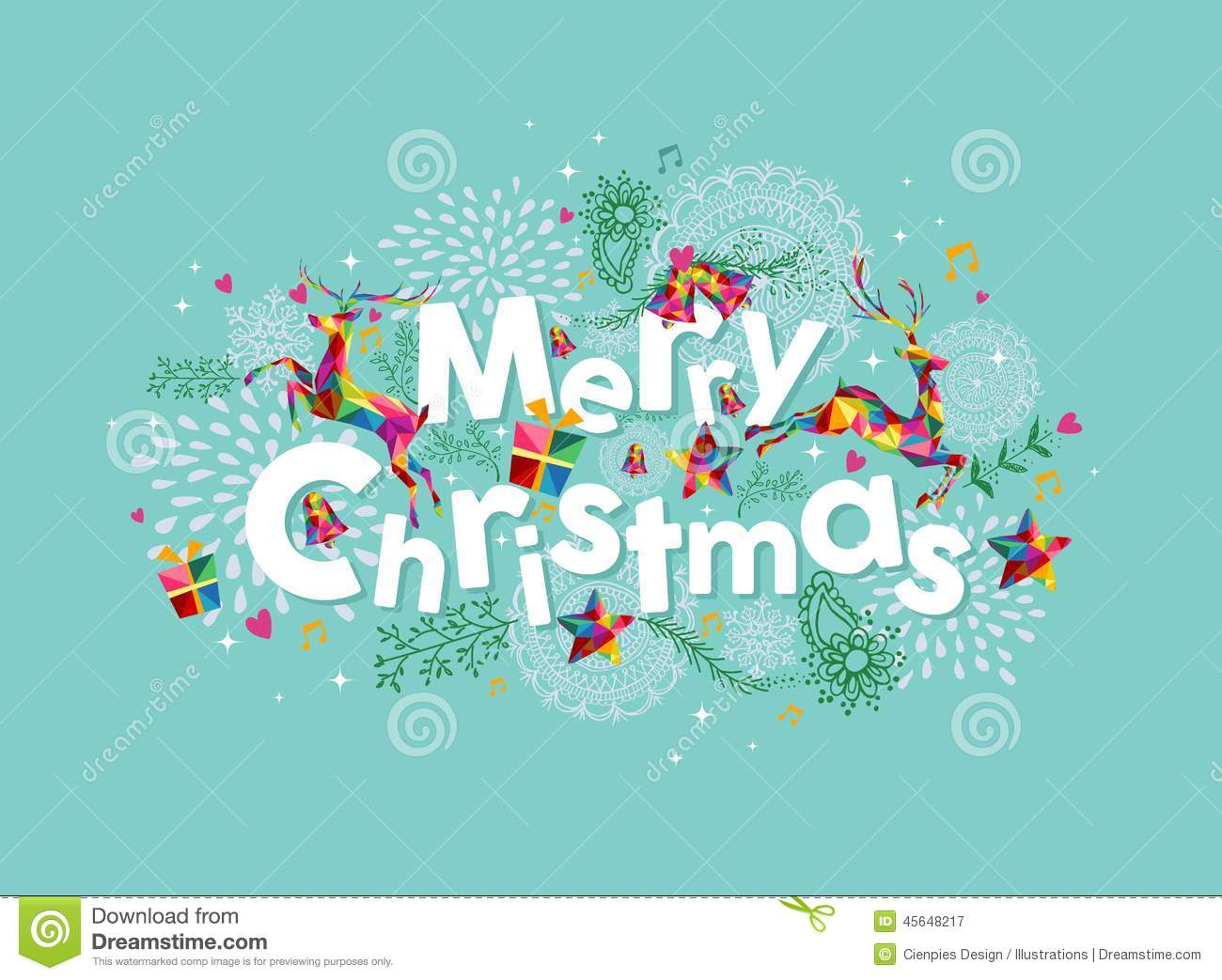 Merry Christmas Contemporary Greeting Card Stock Vector