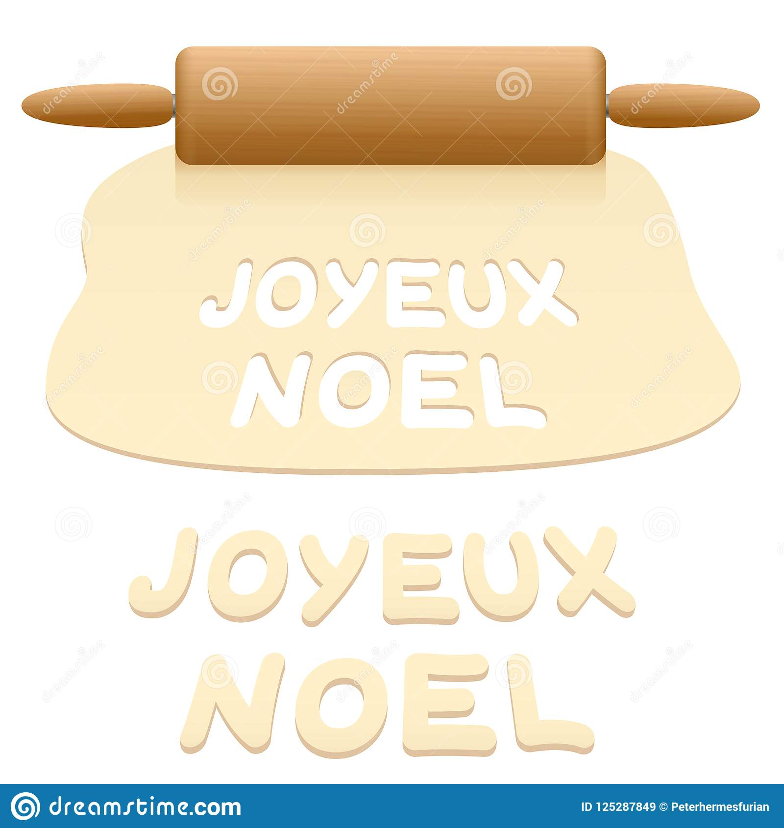download merry christmas cookies french text stock vector illustration of holiday noel 125287849 - How To Say Merry Christmas In French