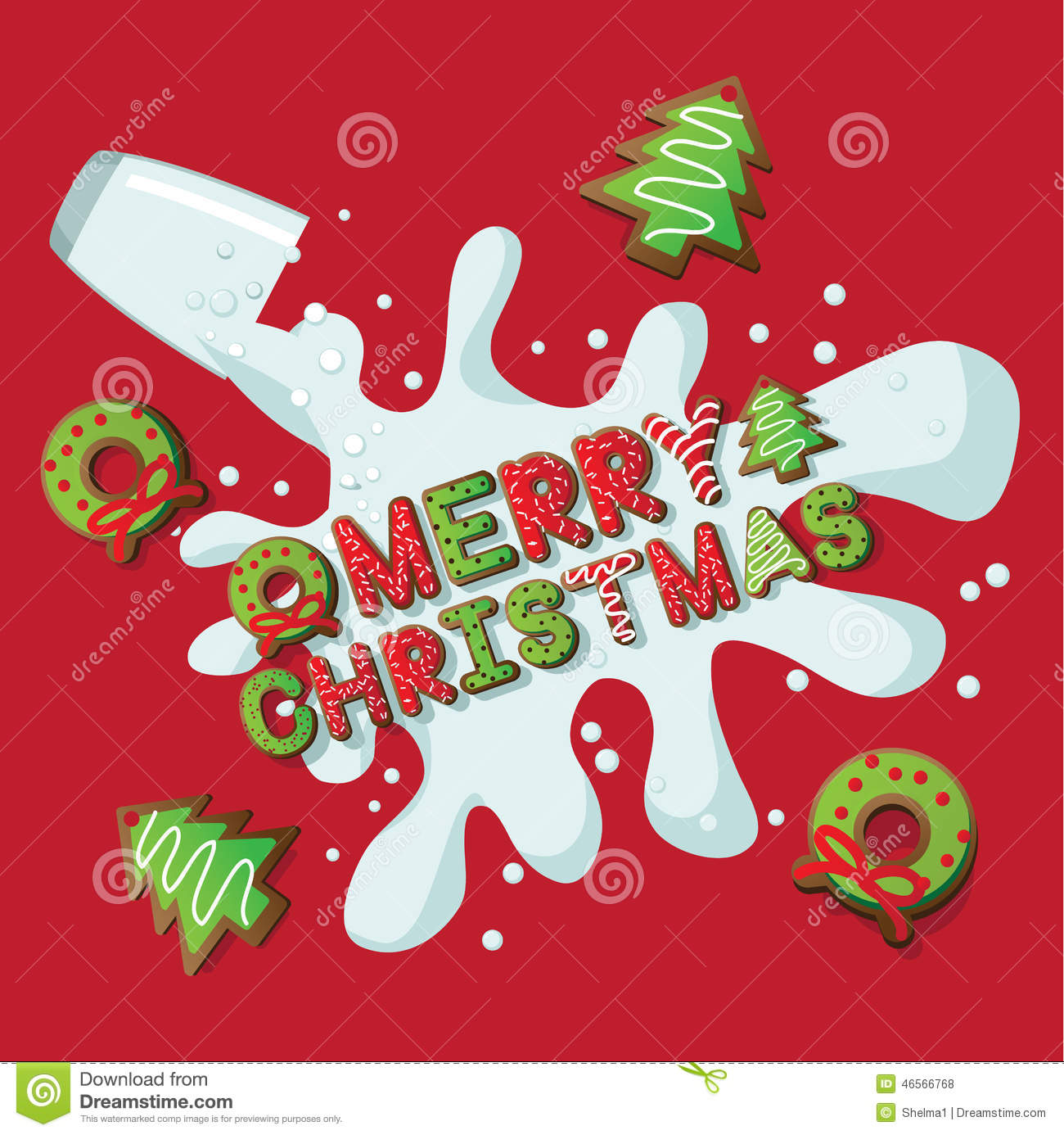 Merry Christmas Cookies And Milk Stock Vector Illustration Of Cute