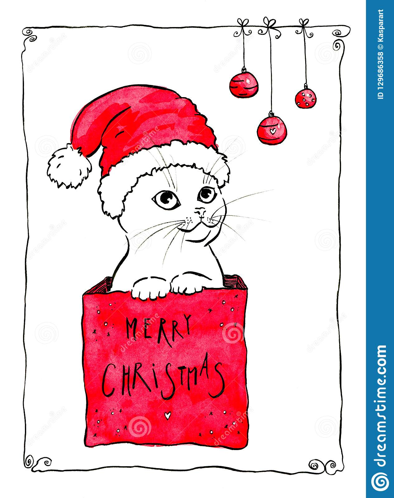 Merry Christmas Cute Cat Christmas Card Design Stock Illustration Illustration Of Greeting Drawing 129686358