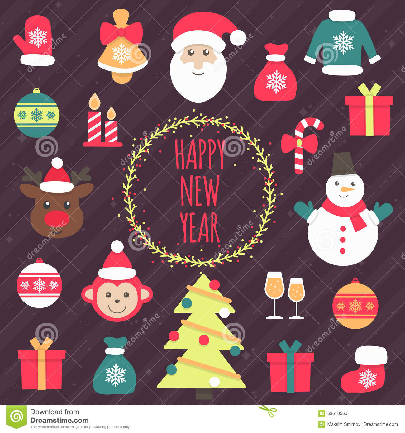 Merry christmas and happy new year icon collection with holiday