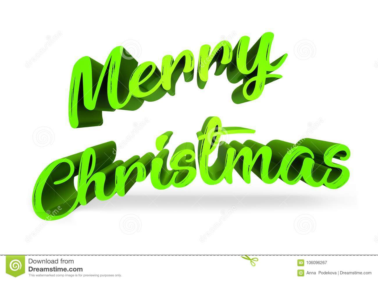 Merry Christmas 3d Extruded Text In Light Green Color Stock Image