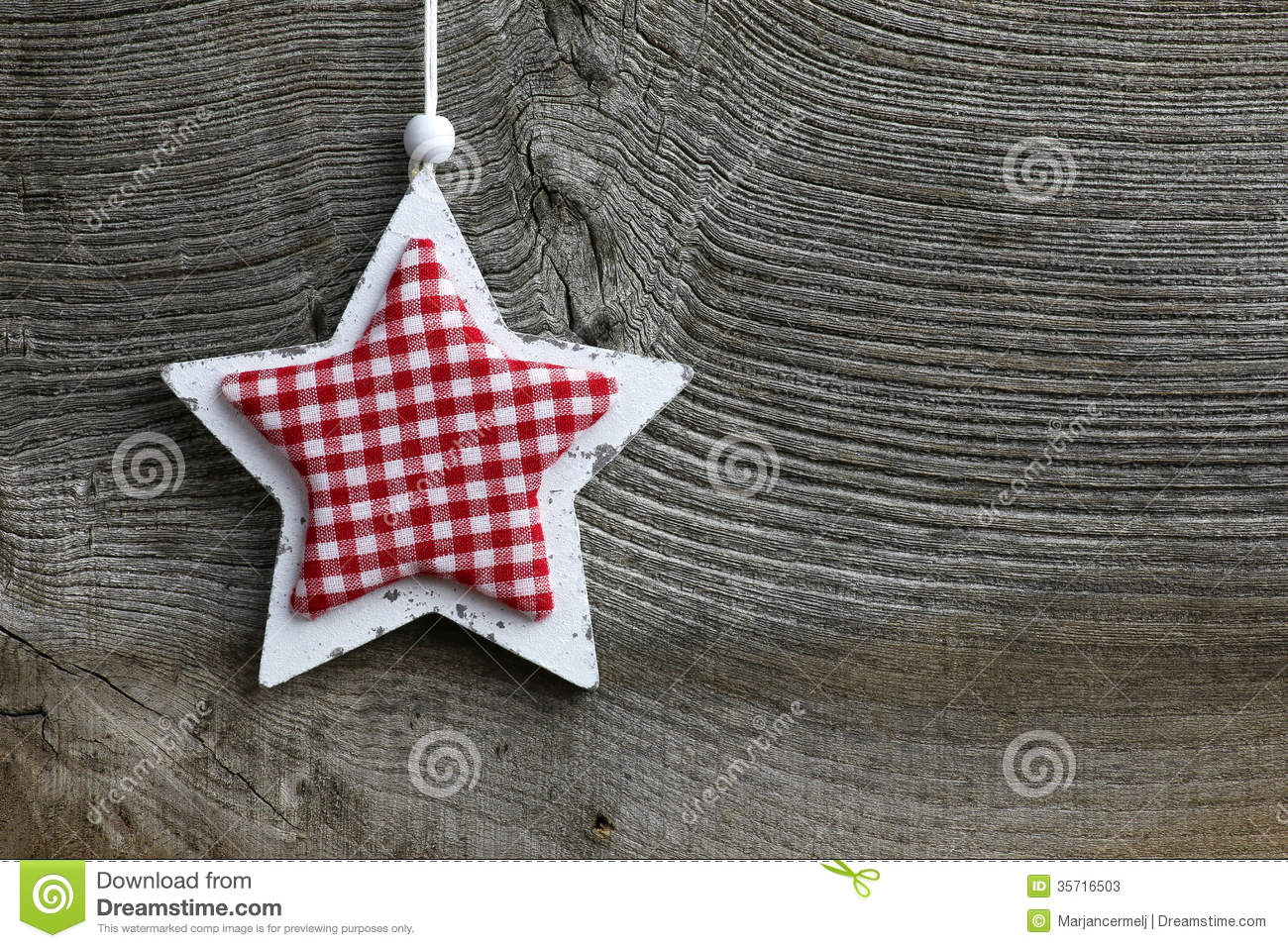 Merry Christmas Decoration White Wooden Star Gingham