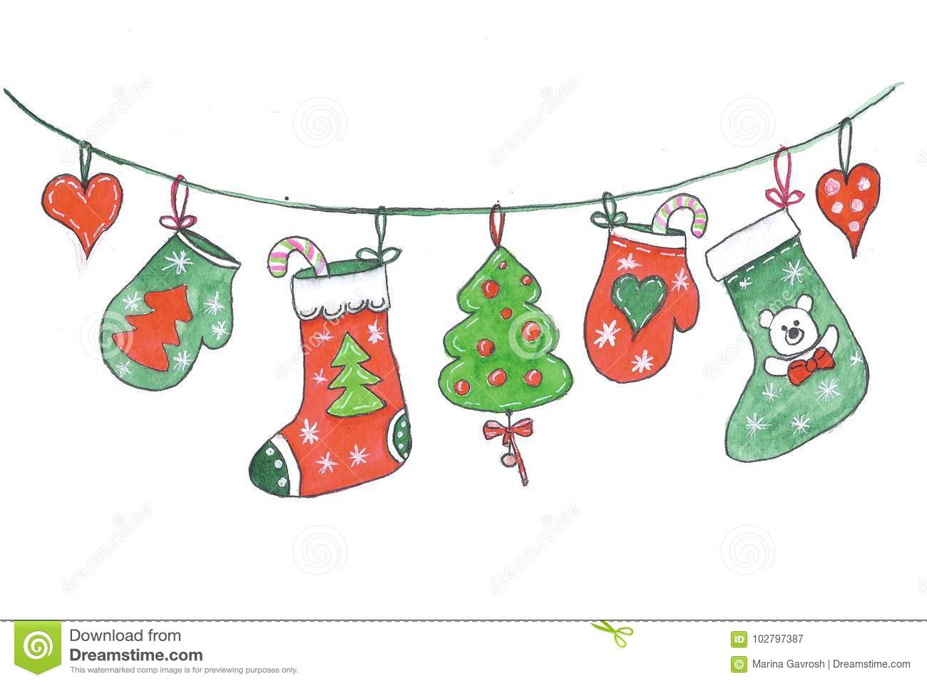 merry christmas decorations hanging on a rope drawing in watercolor