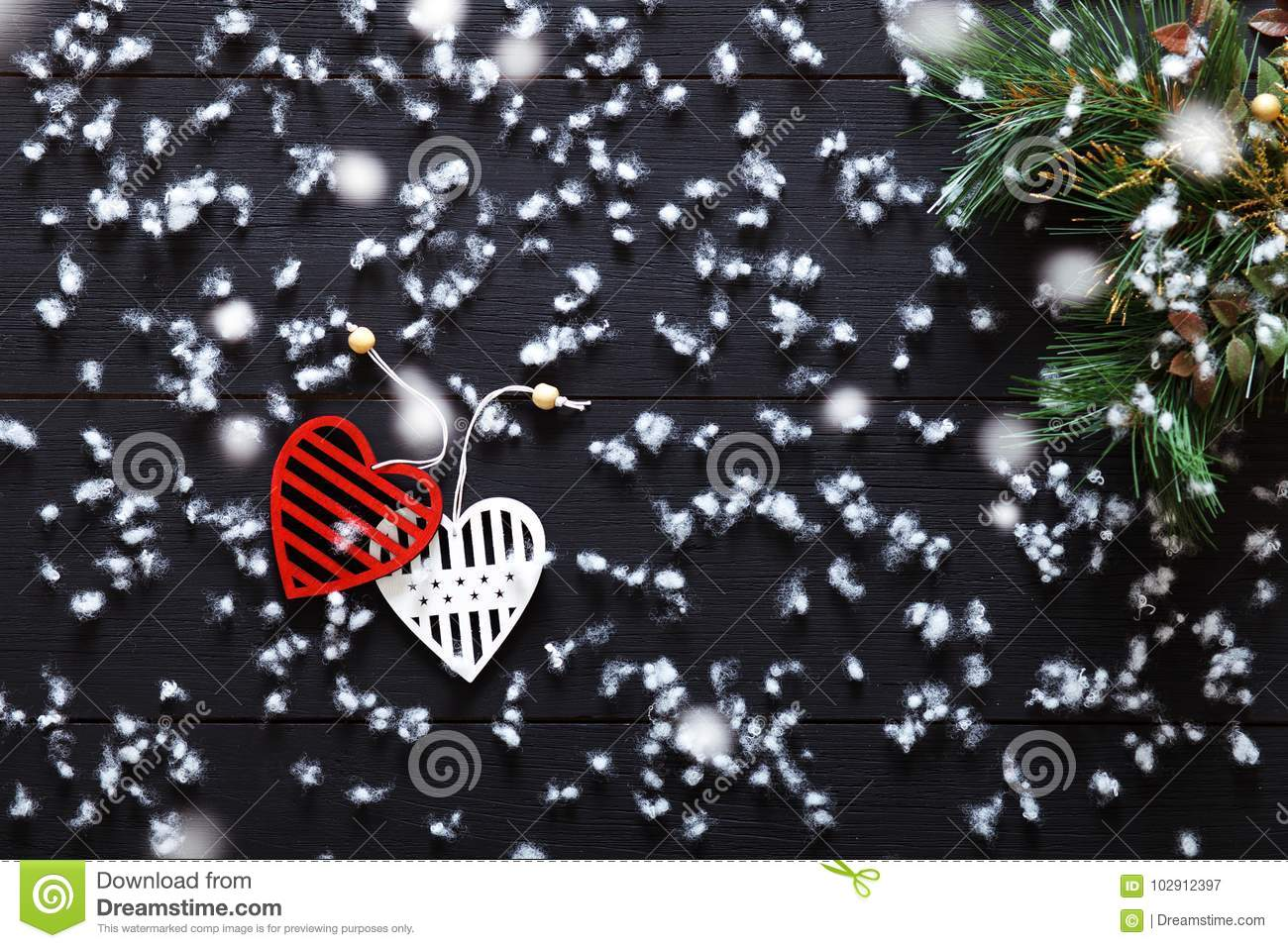 Hearts Of Christmas.Merry Christmas Decorations Snowflakes White Red Hearts