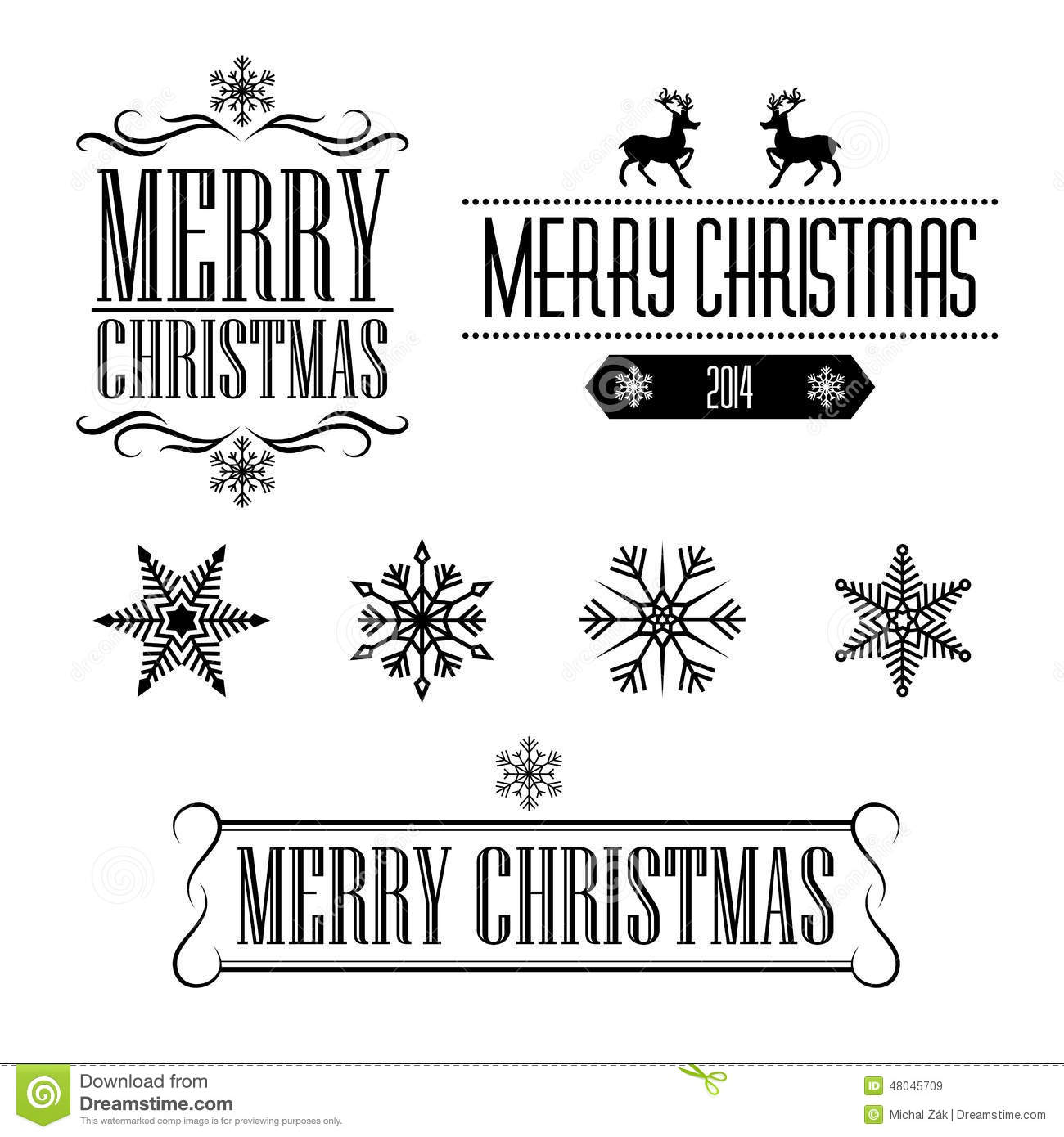 Merry Christmas Decorative Signs And Frames With Snowflakes