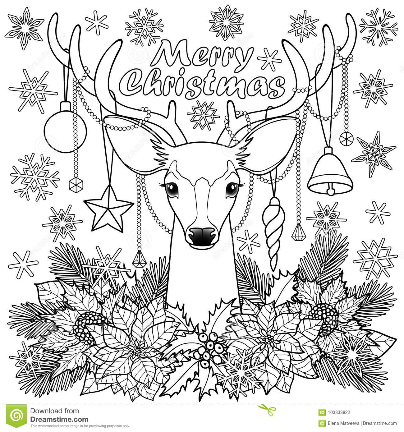 Merry Christmas Deer Outline Composition