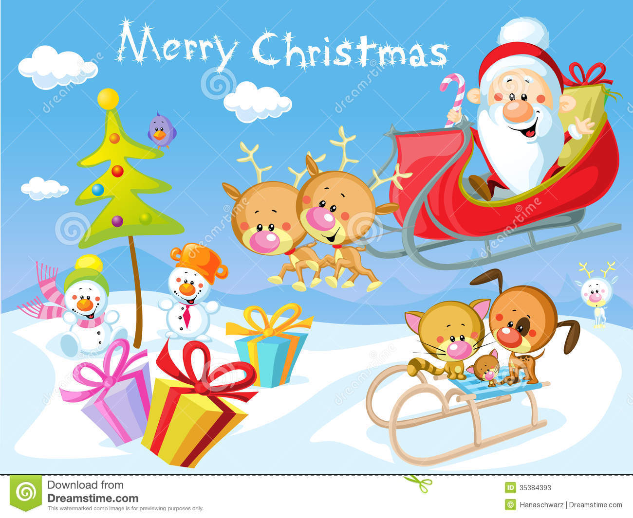 Merry Christmas Design With Santa Stock Vector - Illustration of ...
