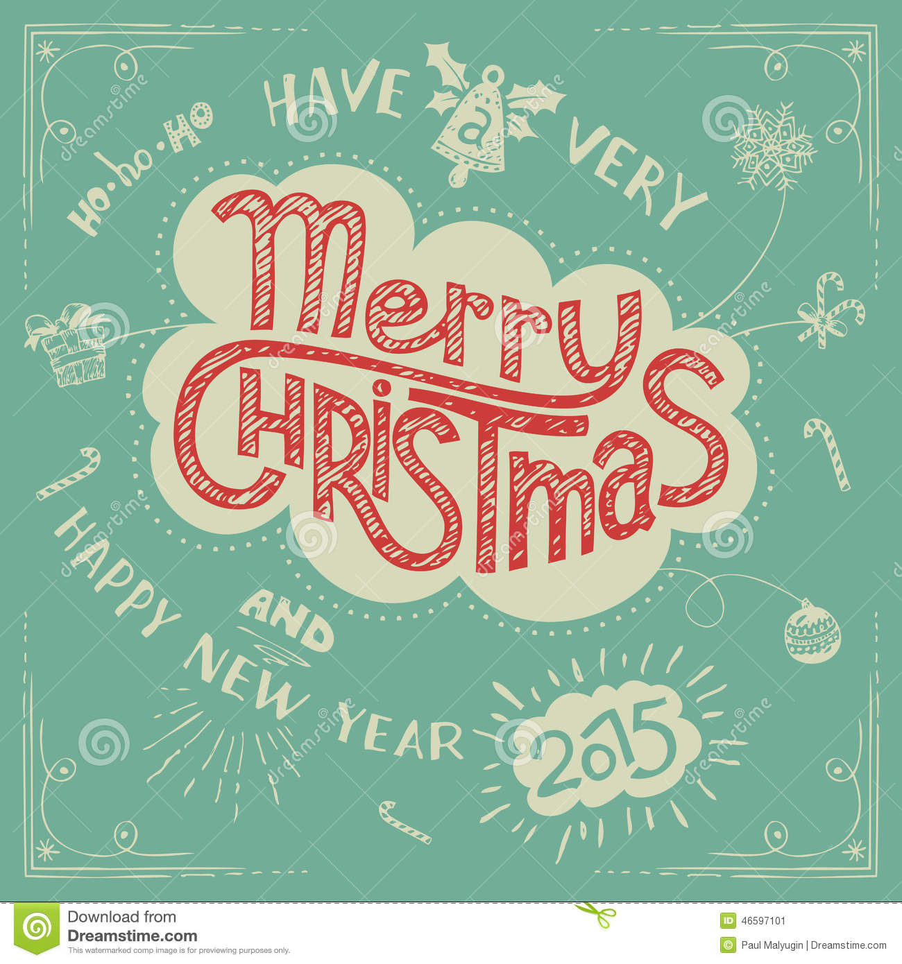 Merry Christmas Doodle Greeting Card Stock Vector - Image ...