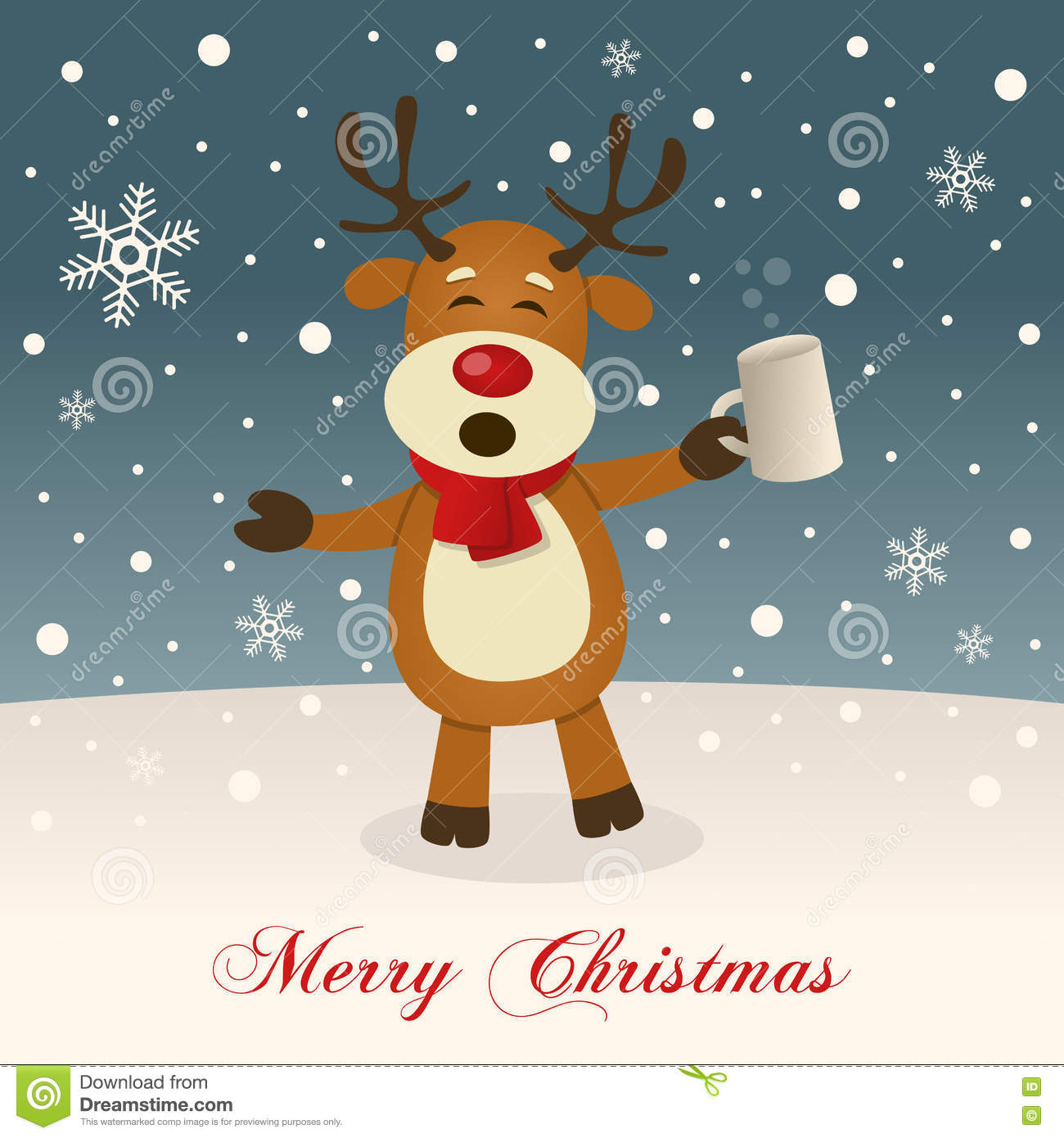 Merry Christmas With Drunk Reindeer Stock Vector Illustration Of