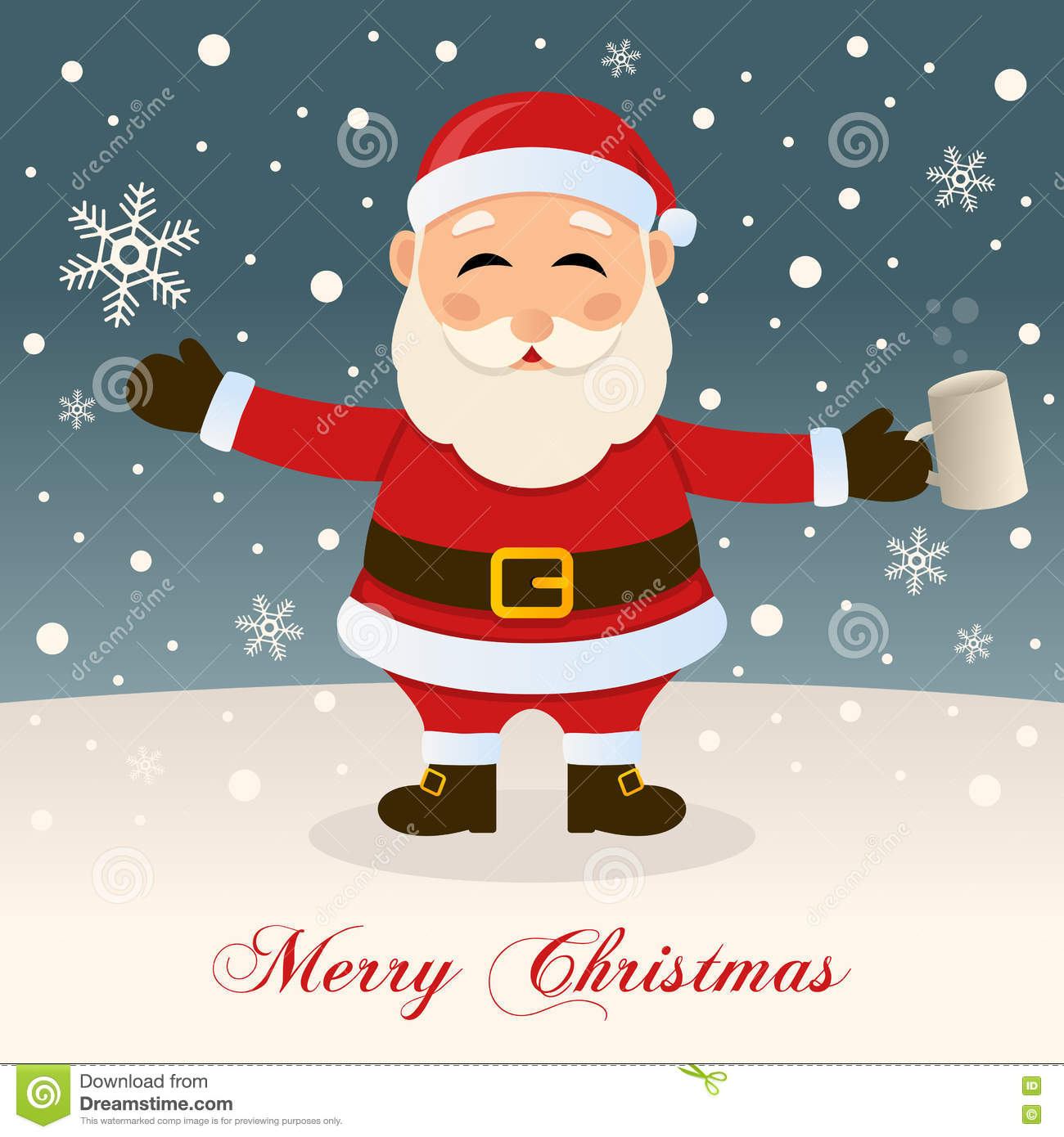 Merry Christmas With Drunk Santa Claus Stock Vector Illustration