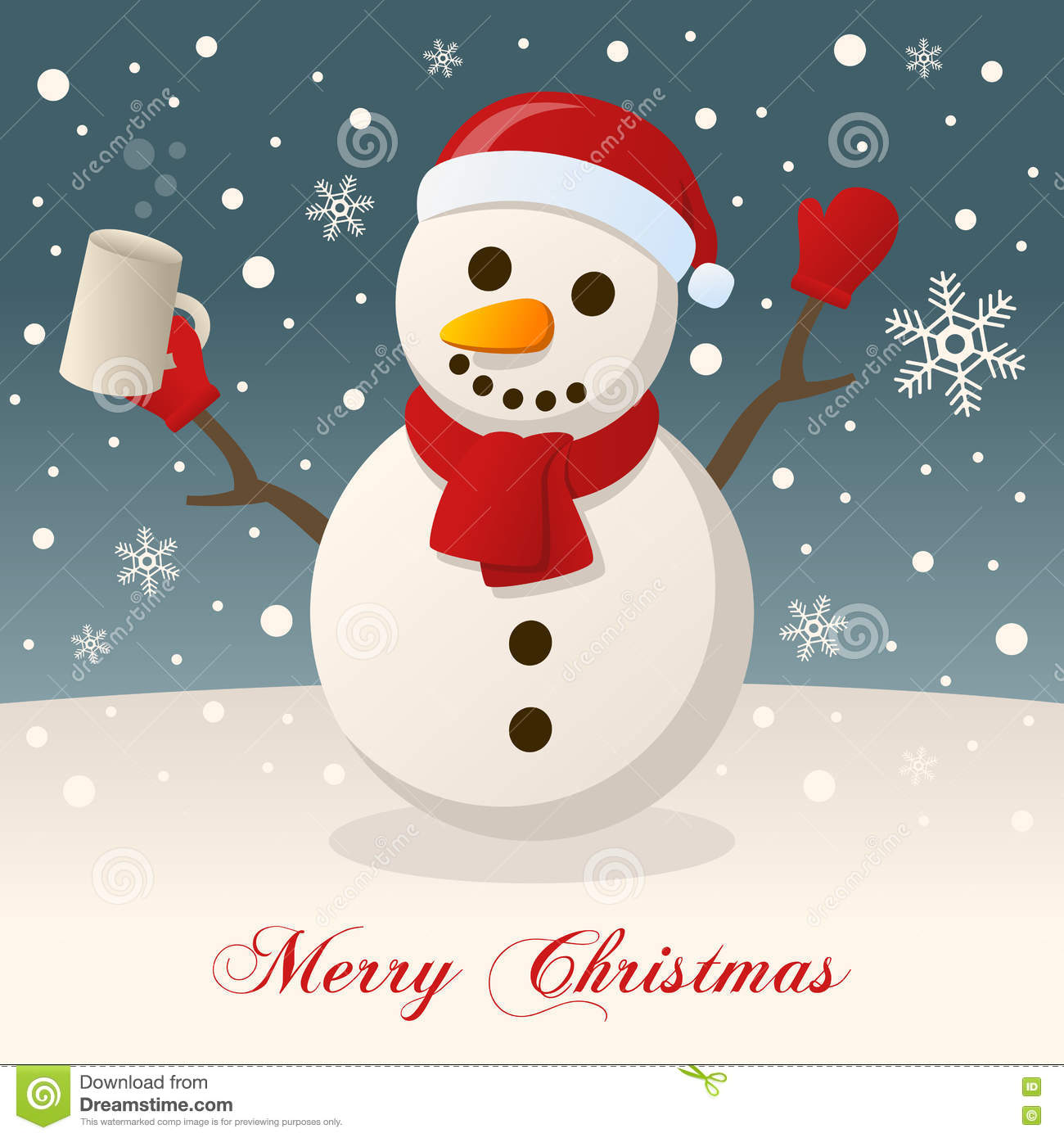 Merry Christmas With Drunk Snowman Stock Vector Illustration Of