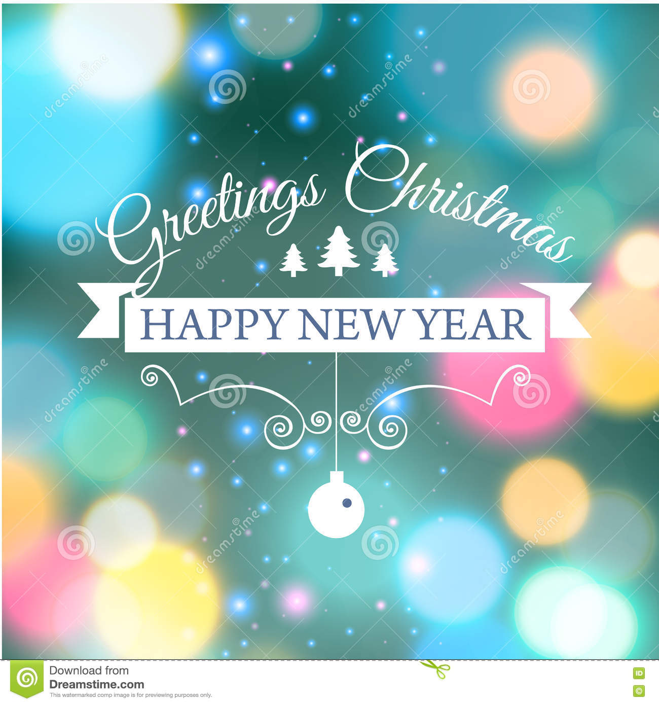 Merry Christmas E Card Template Vector Illustration Stock Vector