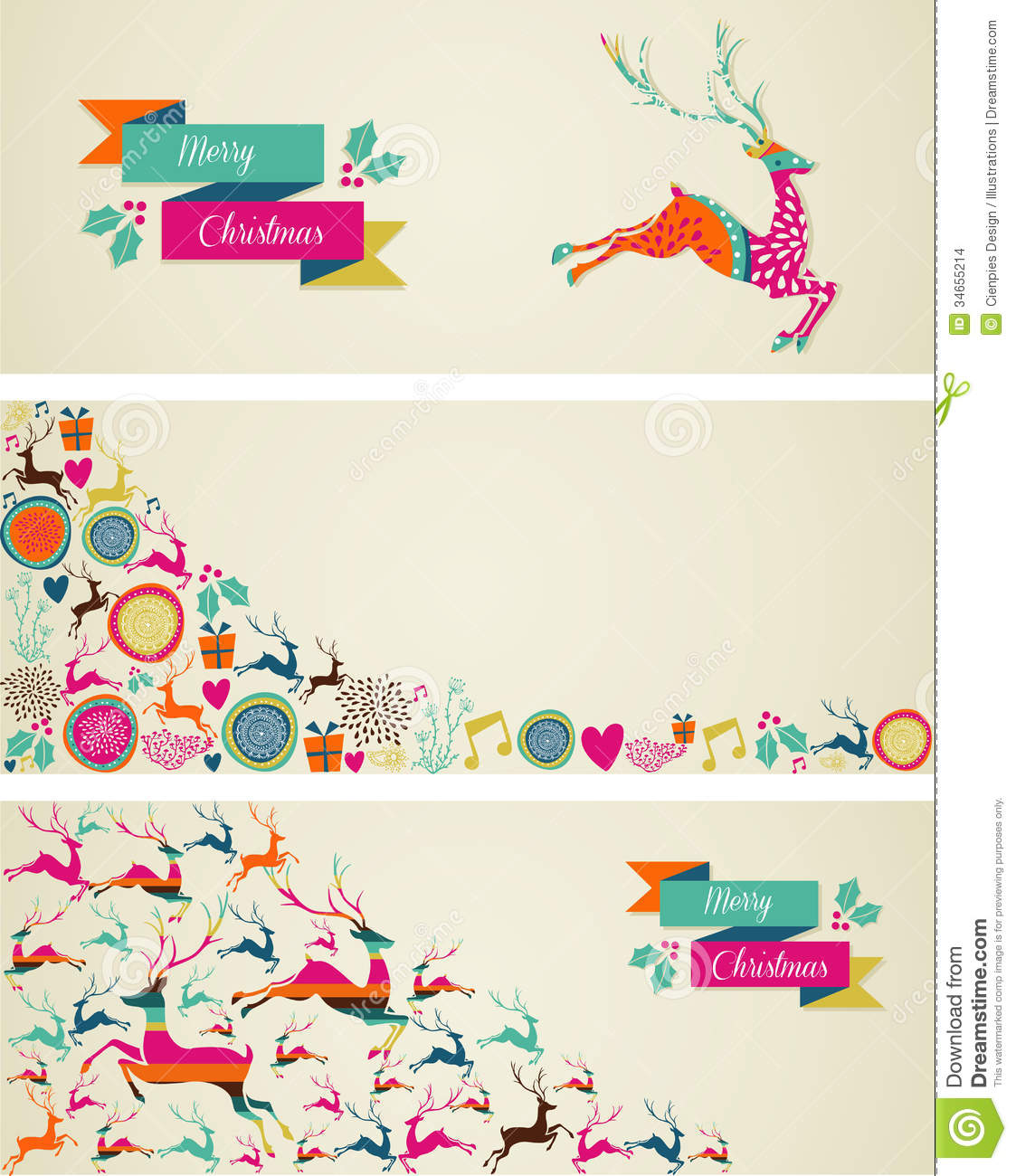 Merry christmas elements template web banners set stock for Christmas decoration websites