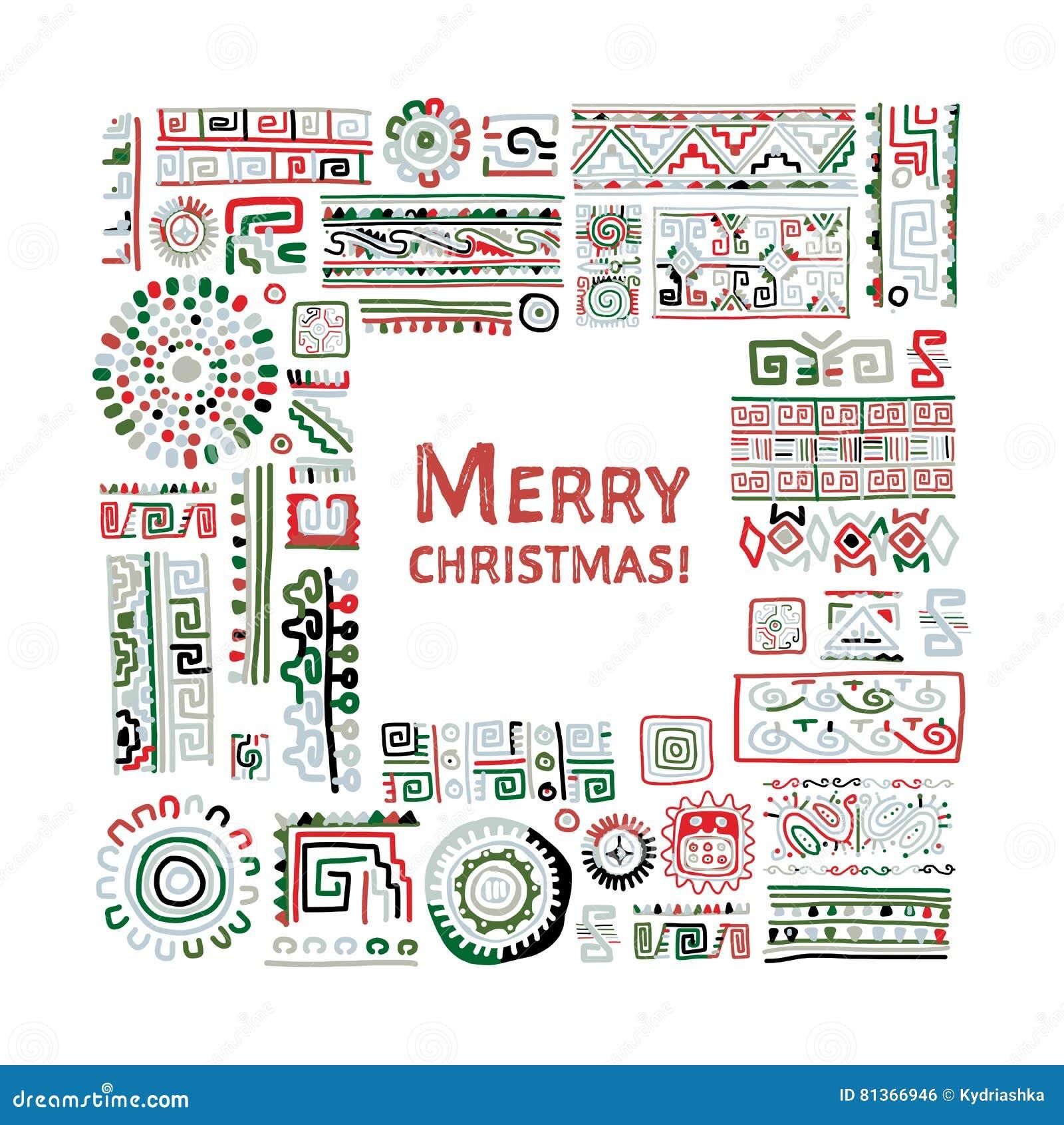 Merry Christmas! Ethnic handmade ornament for your design