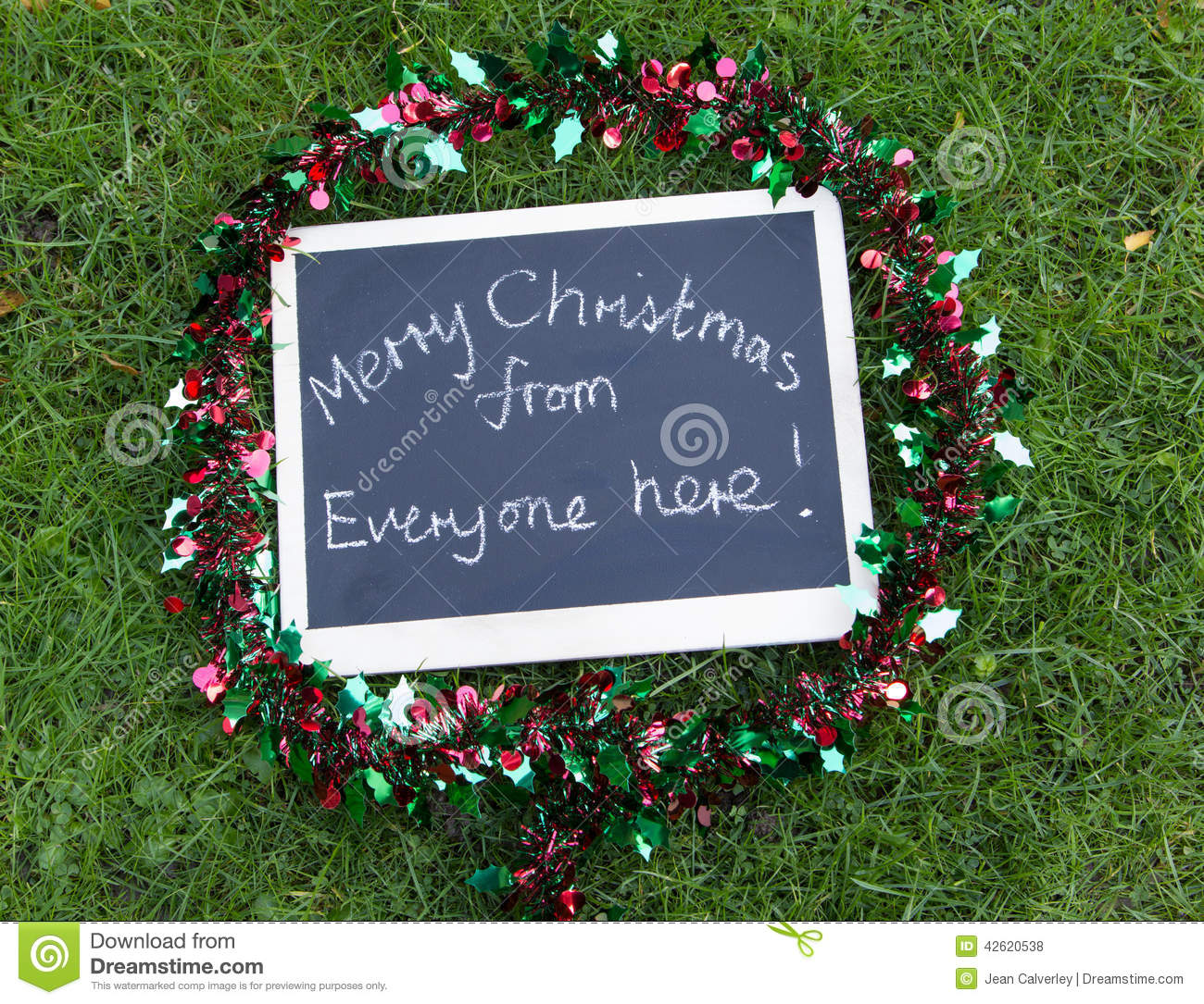 Merry Christmas From Everyone Here Message Stock Photo Image Of