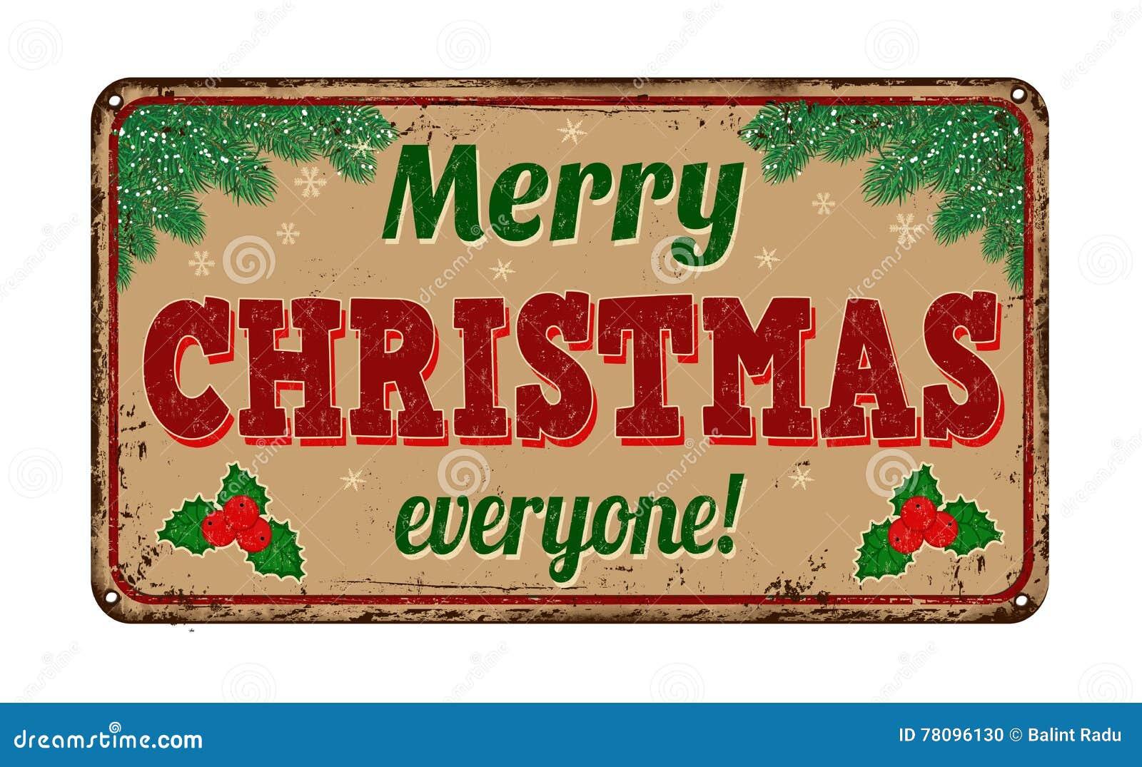 Merry Christmas Everyone, Vintage Metal Sign Stock Vector ...