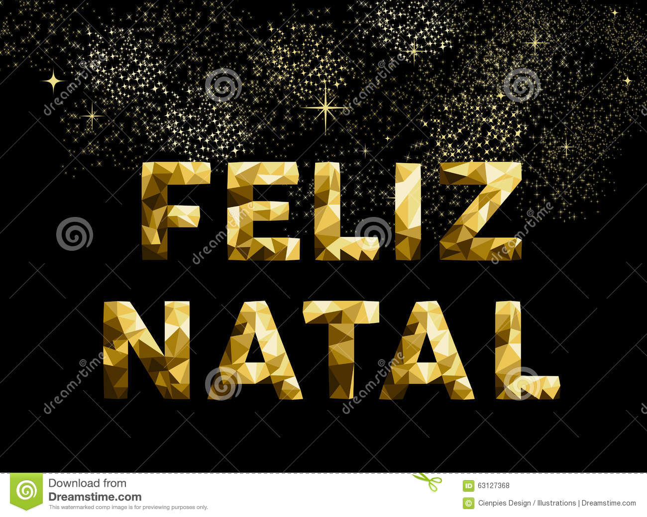 Merry Christmas Feliz Natal Brazil Gold Low Poly Stock Vector ...
