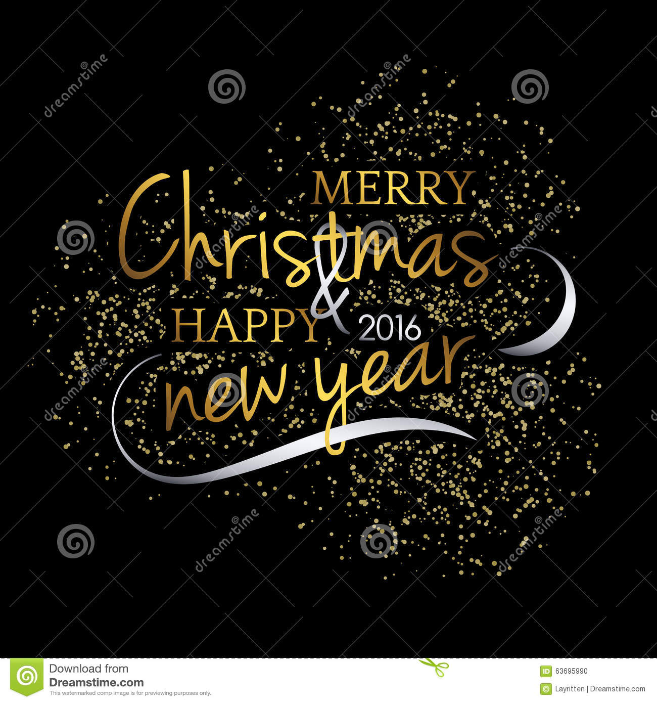 Merry Christmas Festive Black Background With Gold Calligraphic Greeting Text