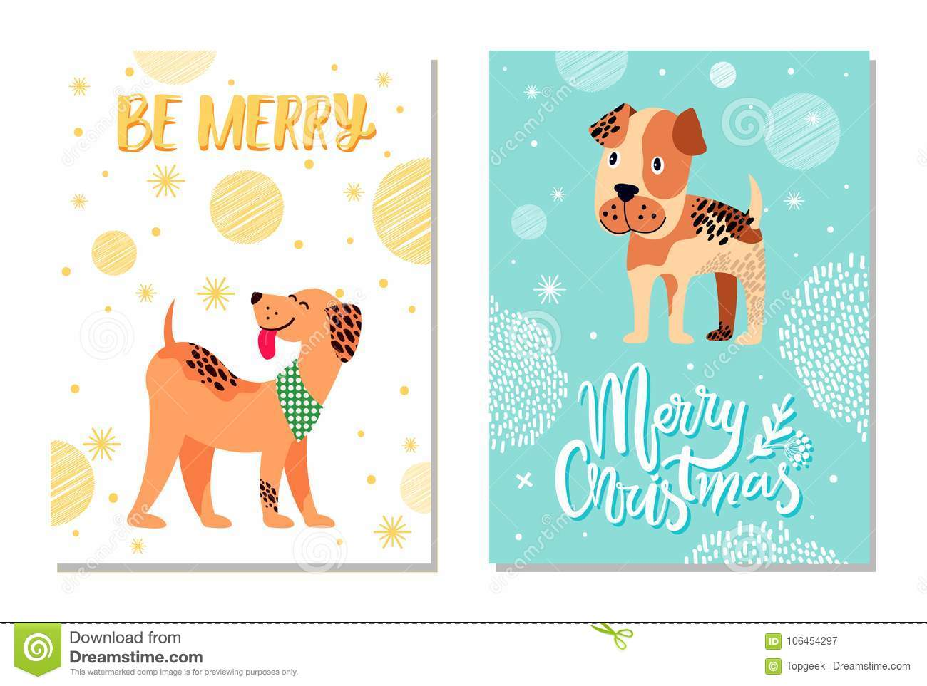 Merry Christmas Festive Postcards With Cute Dogs Stock Vector ...